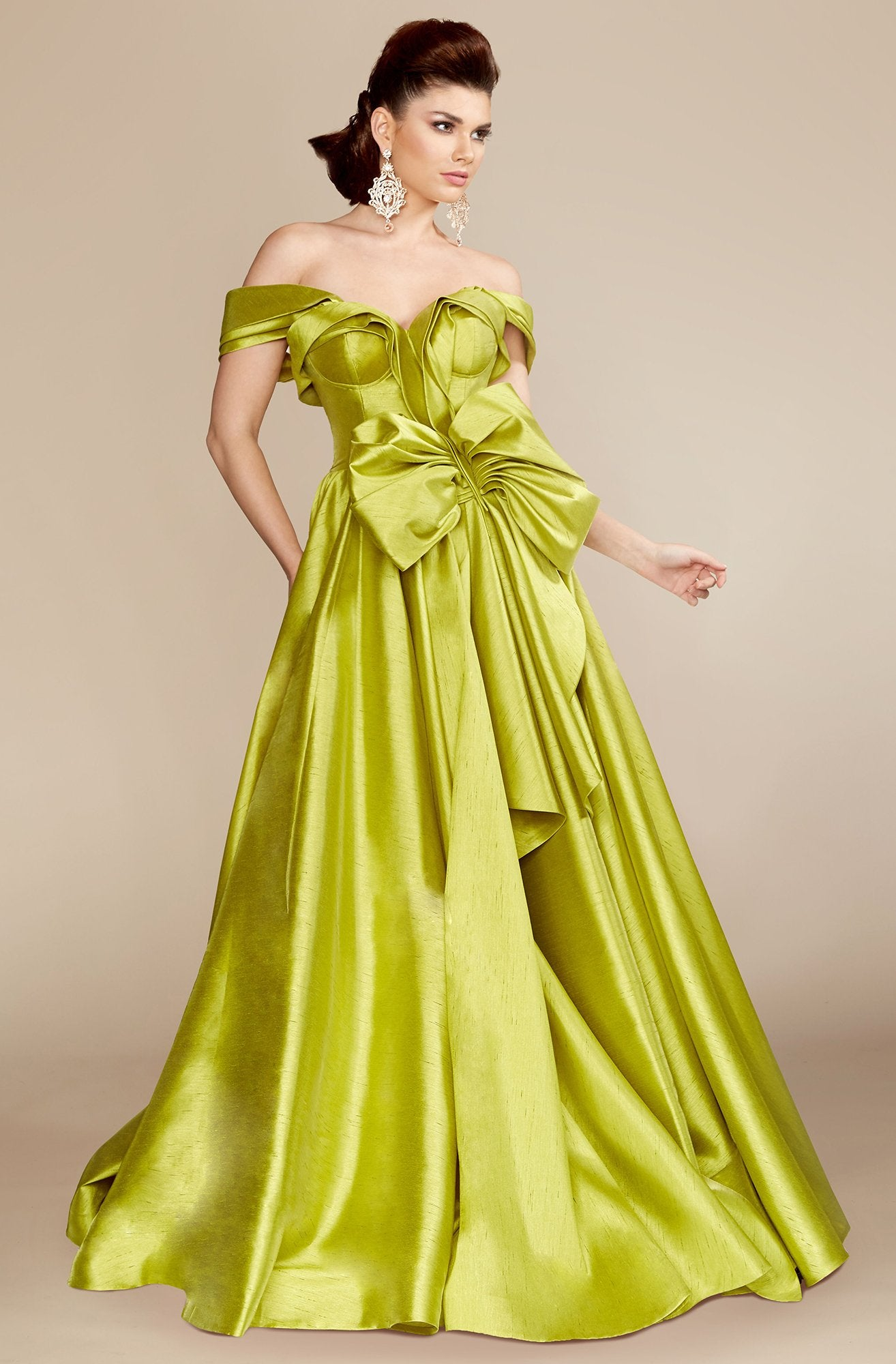 MNM Couture - 2343 Fabulous Off Shoulder Bow Accent Ballgown in Green