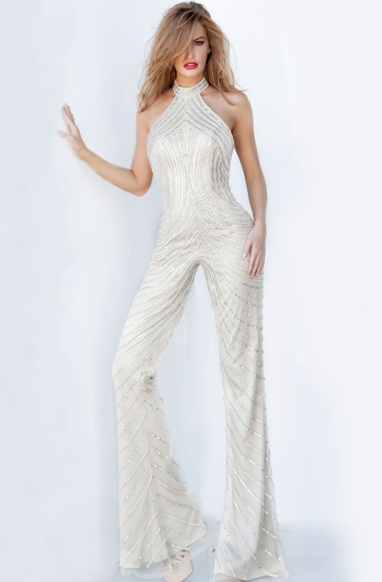 Jovani - 00836 High Neck Bedazzled Jumpsuit In Neutral
