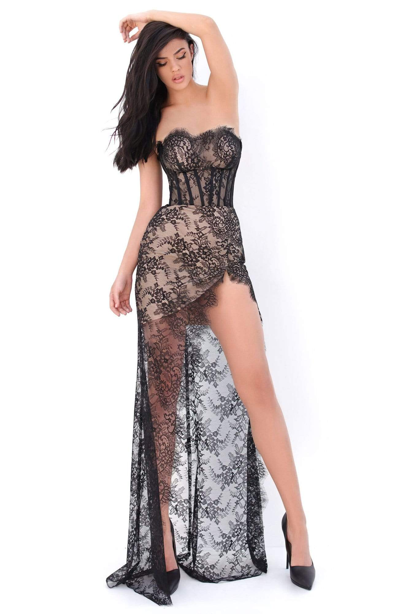 Tarik Ediz - 50673 Long Sleeve Fishnet Draped Lace Gown Prom Dresses 0 / Black