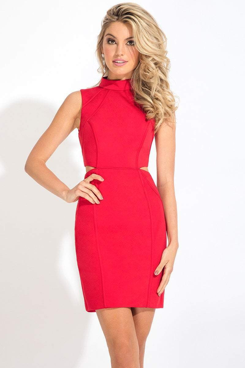 Rachel Allan LBD - L1105 Sleeveless High Sheath Dress in Red