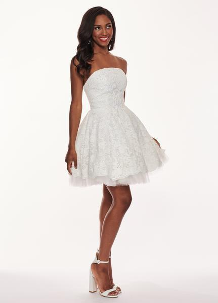 Rachel Allan LBD - L1231 Strapless Beaded Accent Lace Cocktail Dress In White