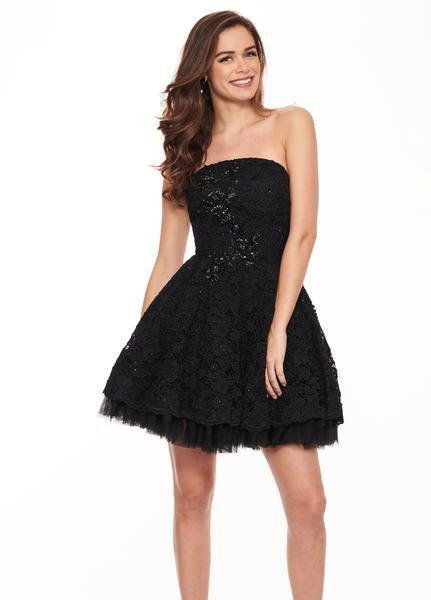 Rachel Allan LBD - L1231 Strapless Beaded Accent Lace Cocktail Dress In Black