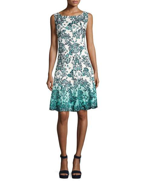 Chetta B. - Sleeveless Multi-Print A-Line Dress B1708928 - Green and Multi-Color