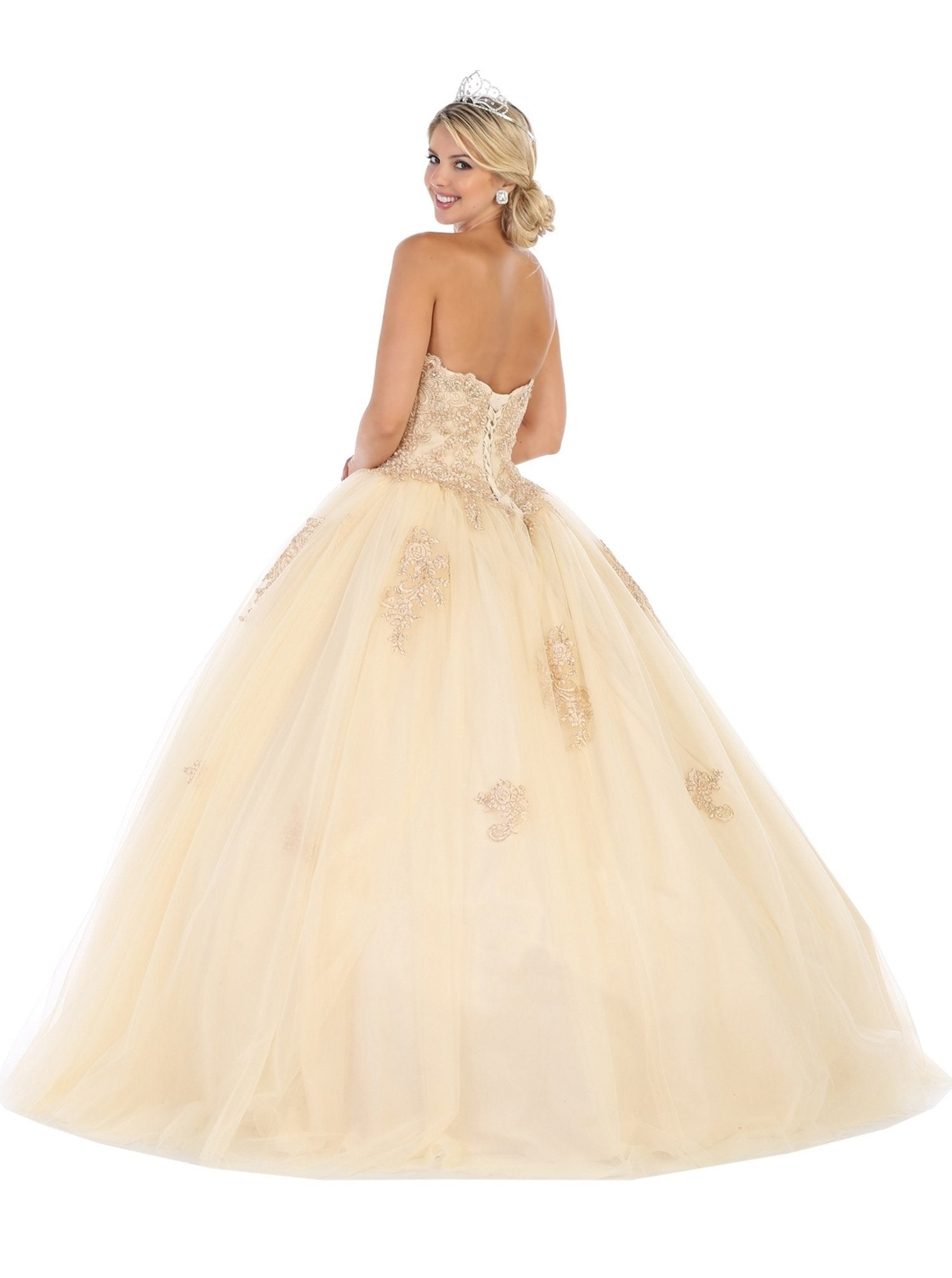 May Queen - Strapless Scalloped Appliqued Ballgown LK107 In Neutral