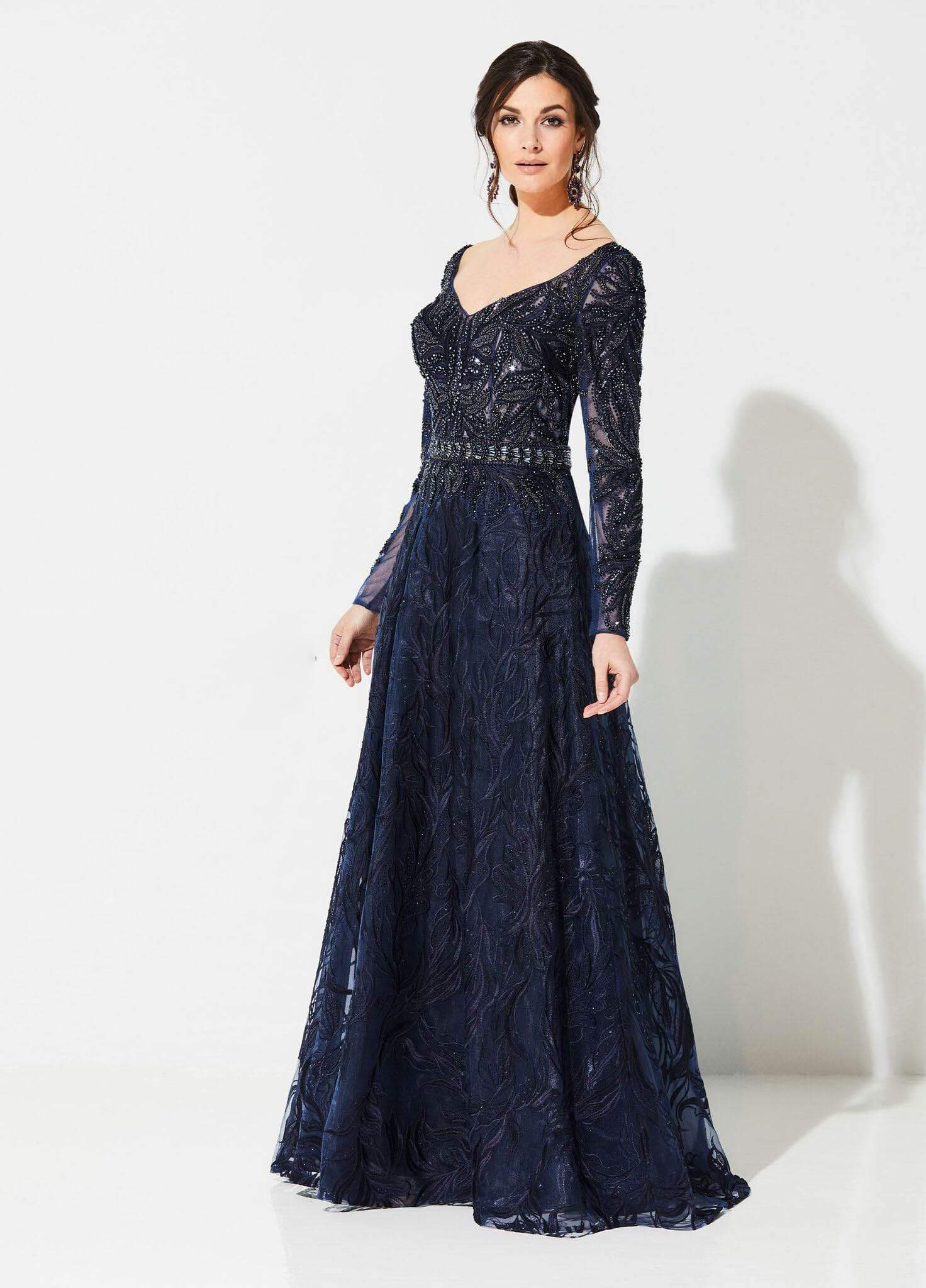 Ivonne D for Mon Cheri - 219D79 Beaded Lace Wide V-neck A-line Gown In Blue