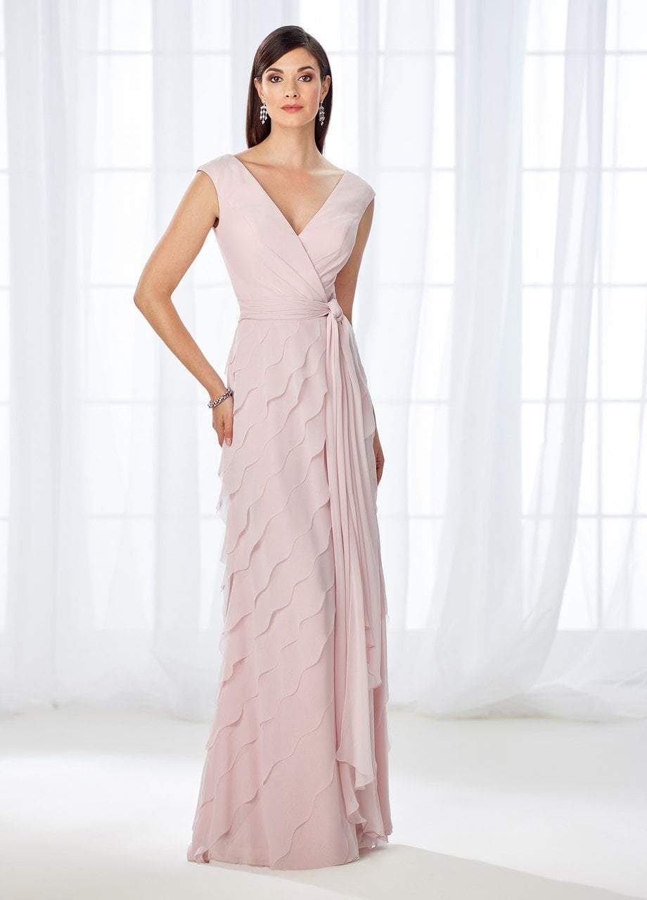 Cameron Blake - 118668 Cap Sleeve Wrap Tie Scalloped Evening Gown In Pink