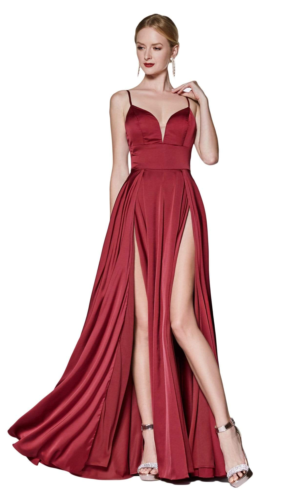Cinderella Divine - CJ526 Sheer Plunging Neck Double Slit Satin Gown Special Occasion Dress 2 / Burgundy