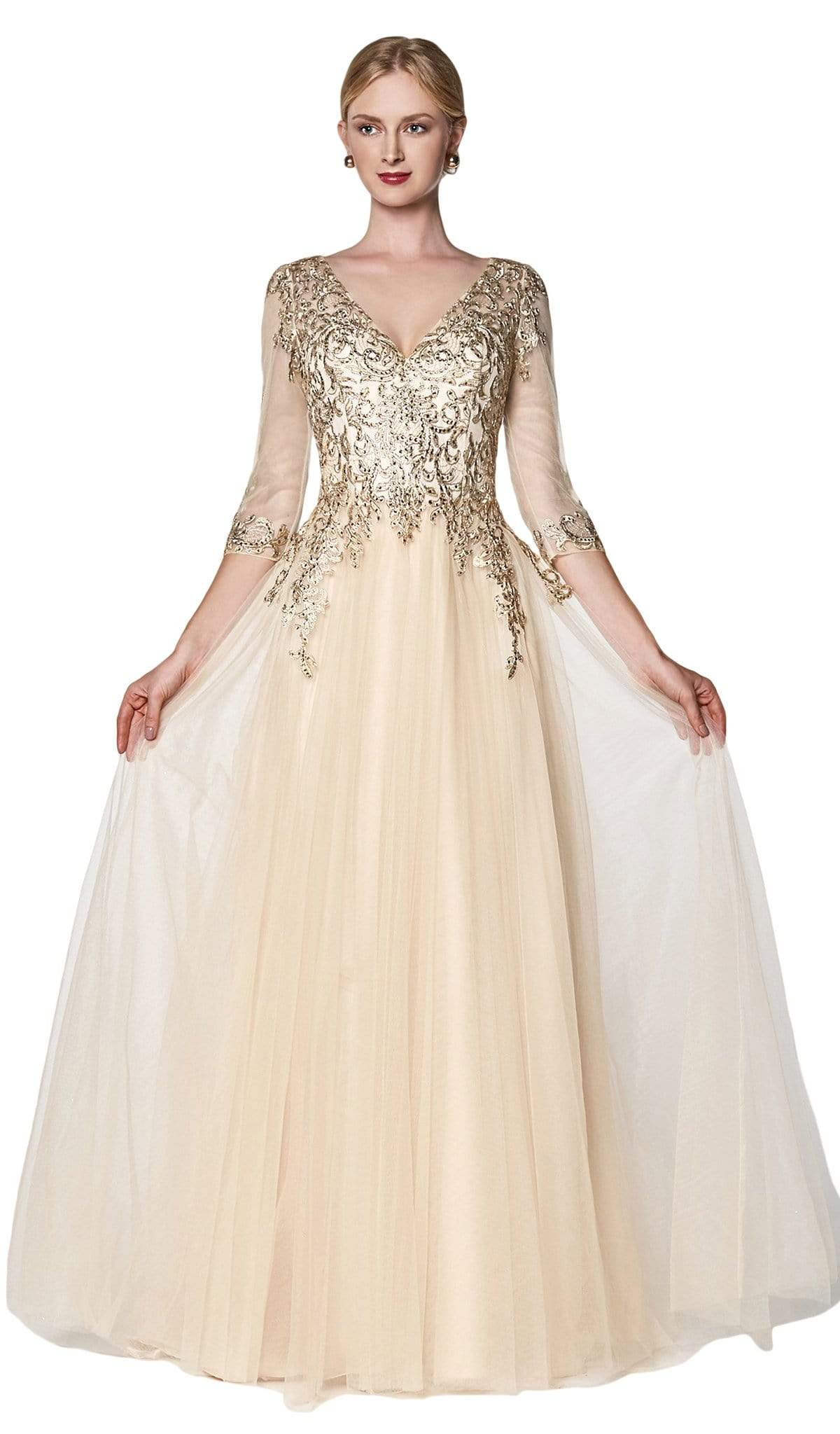 Cinderella Divine - OC003 Beaded Lace V-Neck Evening Dress In Neutral