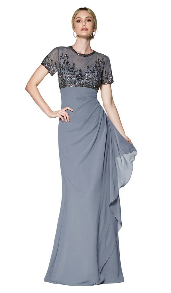 Cinderella Divine - J0295 Vine Embroidered Sheer Short Sleeve Drape Ruffle Dress In Gray