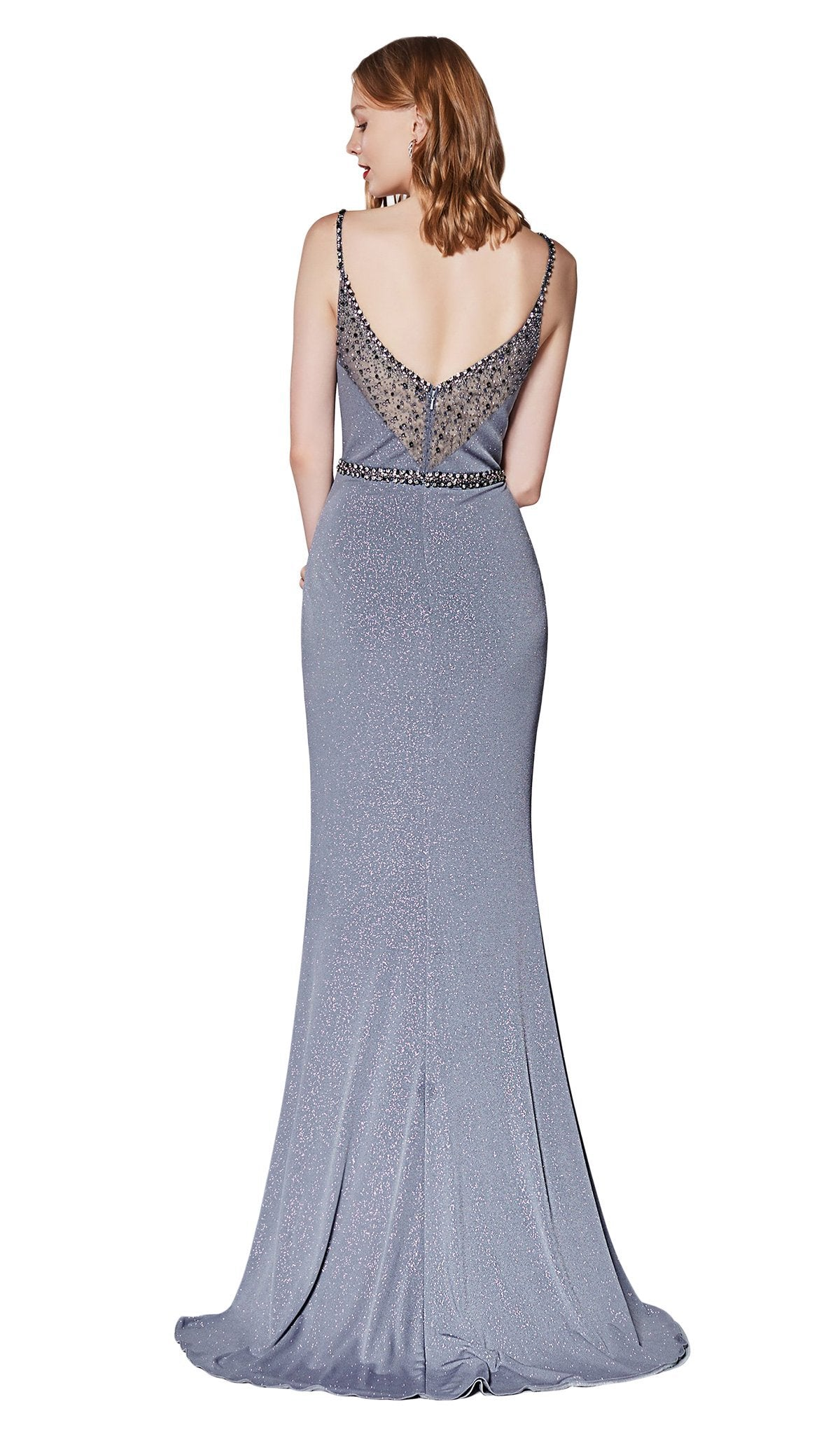 Cinderella Divine - CS035 Beaded Evening Dress with Slit In Gray