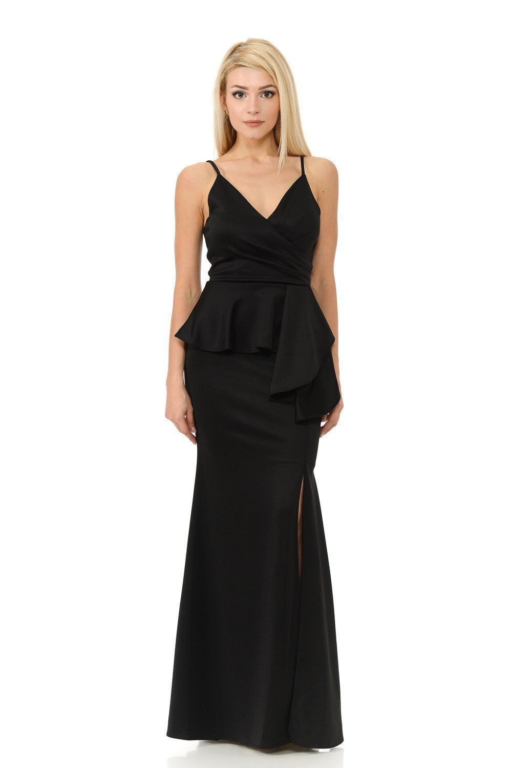 Lenovia - V-Neck Wrap Bodice Peplum Evening Dress 5174 In Black