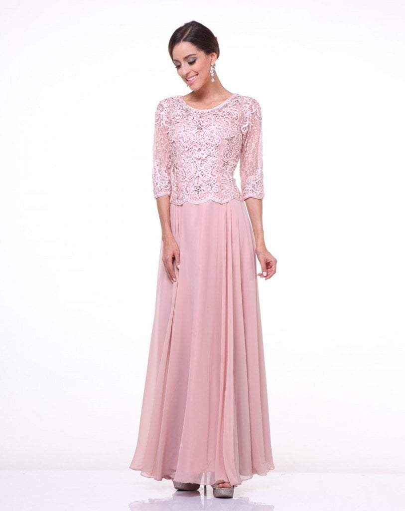 Cinderella Divine  Quarter Sleeve Laced Bodice A-Line Long Formal Dress - 1 pc Blush In Size XL Available In Pink