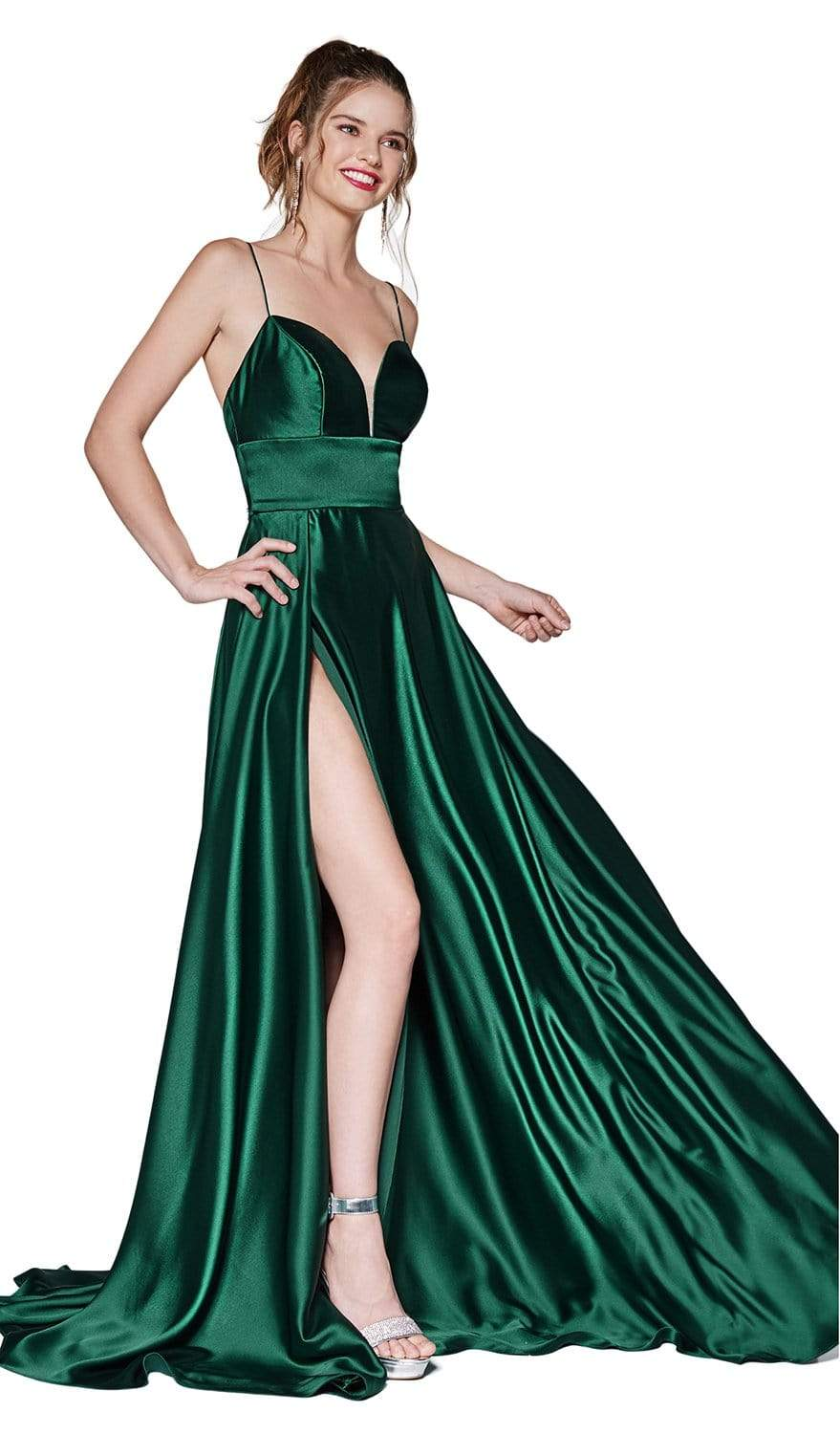 Cinderella Divine - CJ523 Sweetheart Neckline High Slit Satin Gown Prom Dresses 4 / Emerald