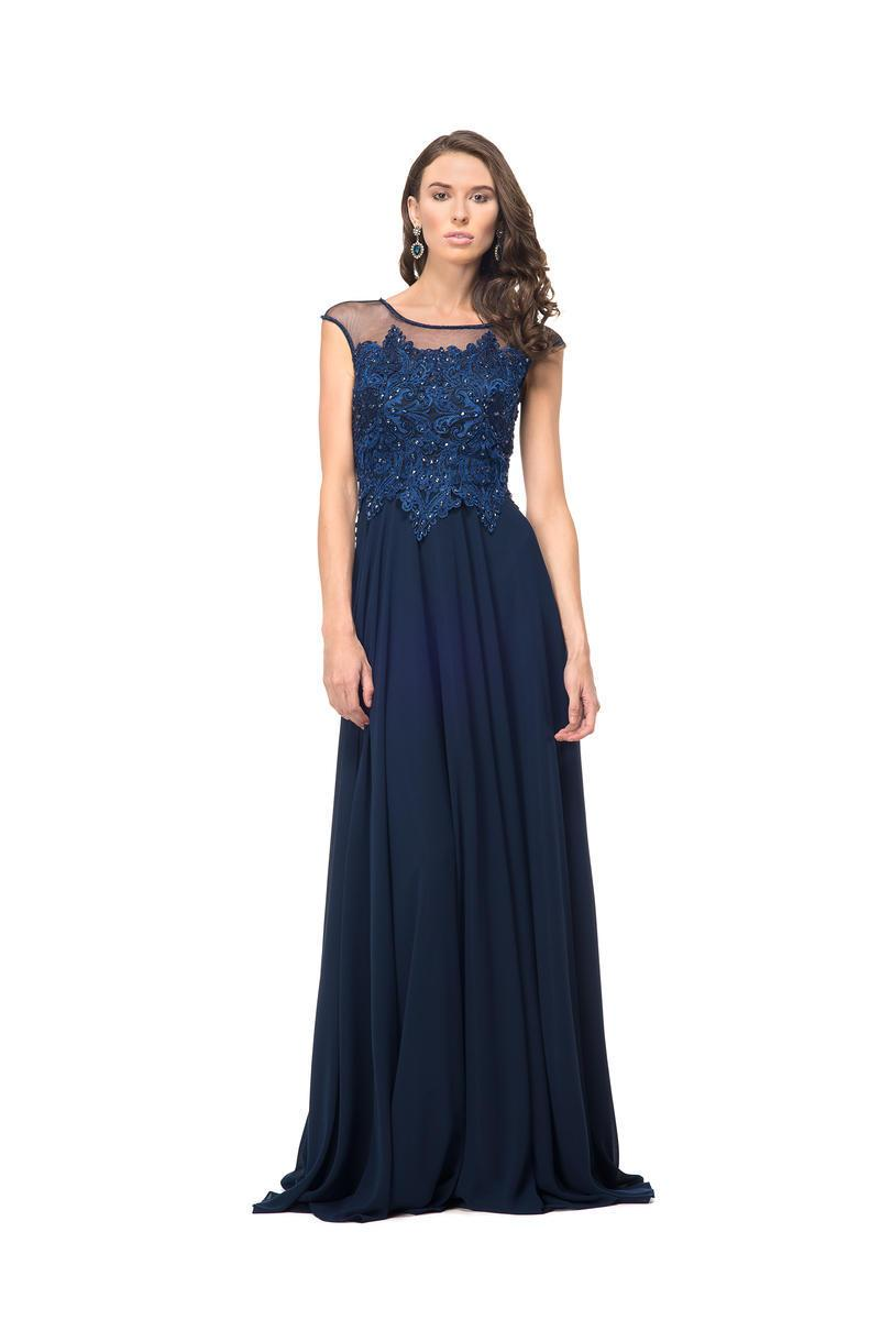Marsoni by Colors - M107 Embroidered Illusion Silk Gown Special Occasion Dress 2 / Navy