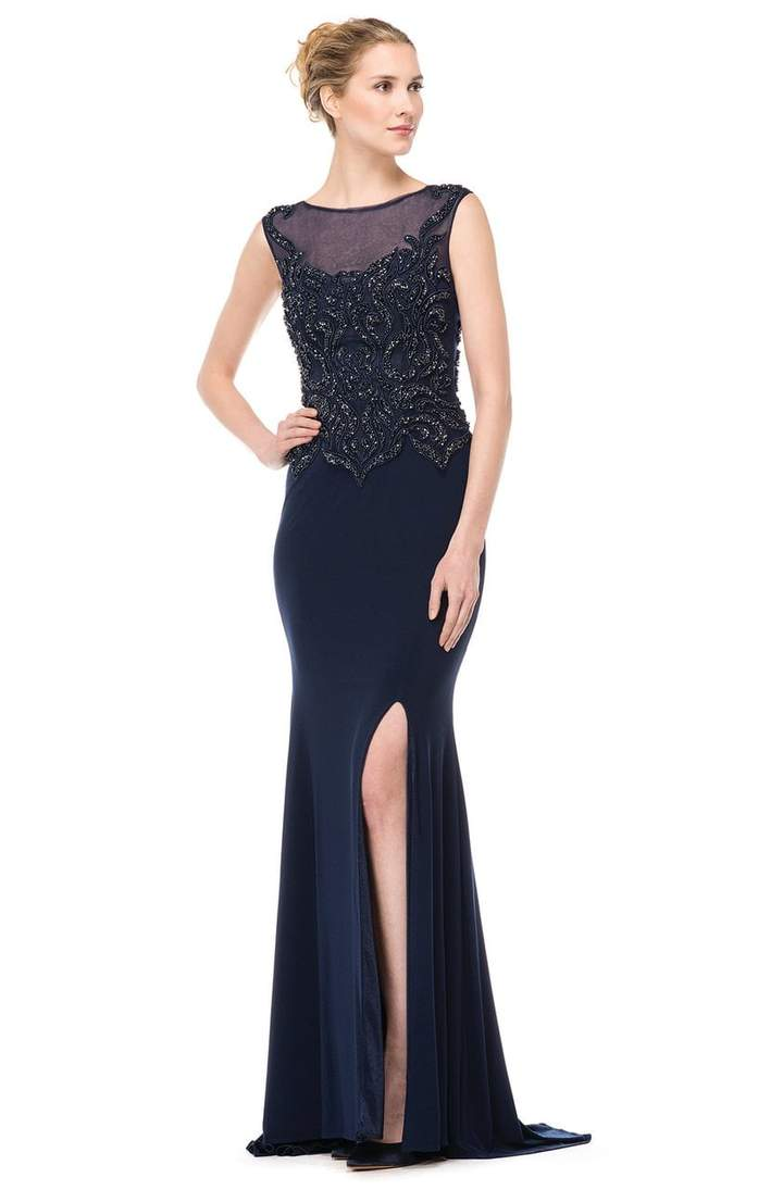 Marsoni by Colors - M155SC Embellished Illusion Bateau Sheath Gown