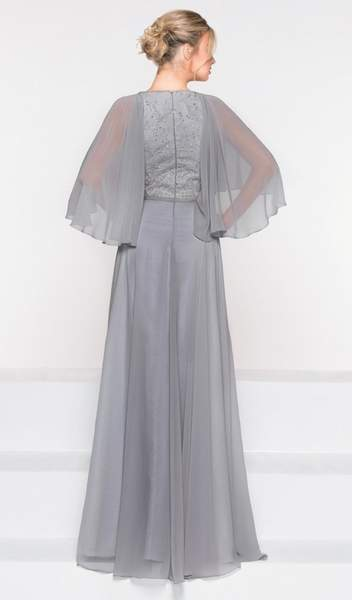 Marsoni by Colors - M230 Asymmetrical Caped Sleeve Chiffon Gown in Gray