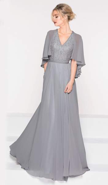 Marsoni by Colors - Asymmetrical Caped Sleeve Chiffon Gown M230 In Gray
