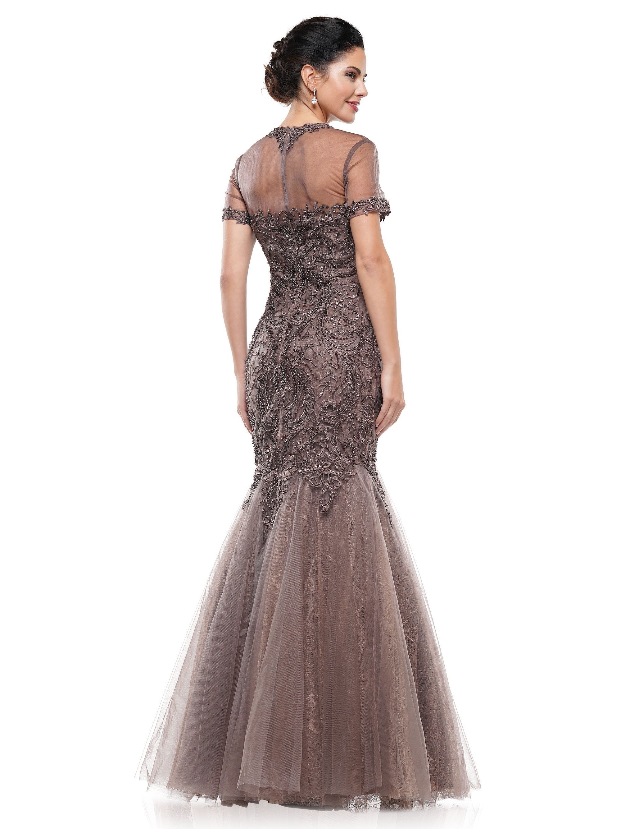 Marsoni by Colors - M259 Metallic Embroidered Sweetheart Trumpet Gown In Brown