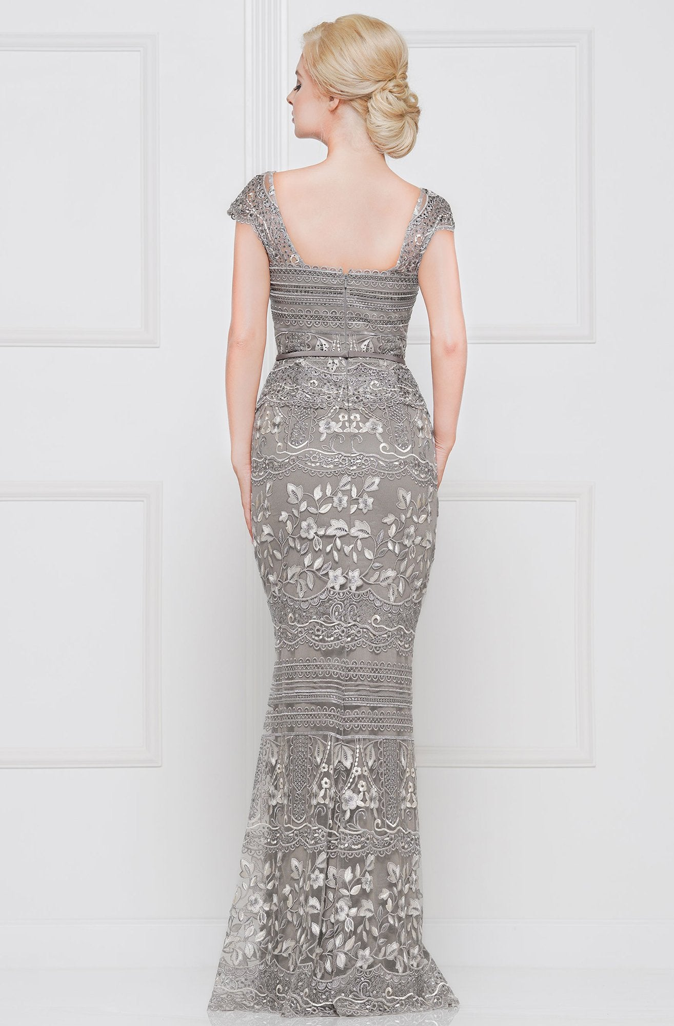 Marsoni By Colors - Lace Square Neck Trumpet Evening Gown M264 In Gray