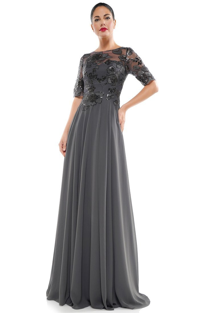 Marsoni by Colors - Sequined Bateau Chiffon A-line Dress M286 In Gray
