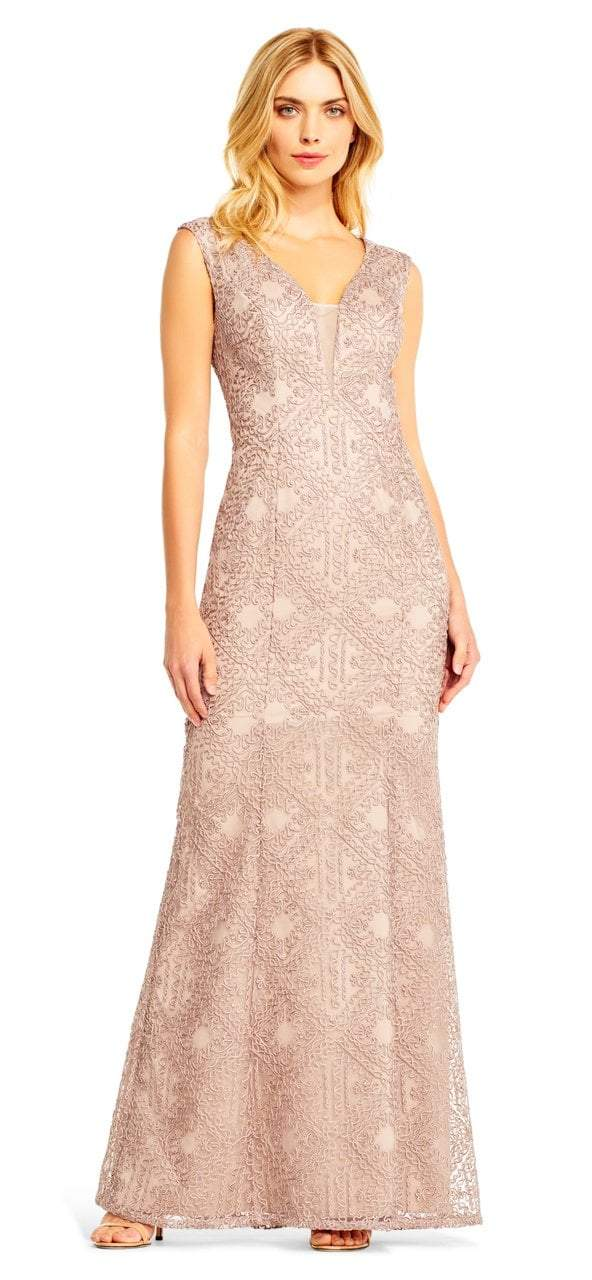 Aidan Mattox - MD1E201403 Sleeveless Soutache Embroidered Gown in Pink