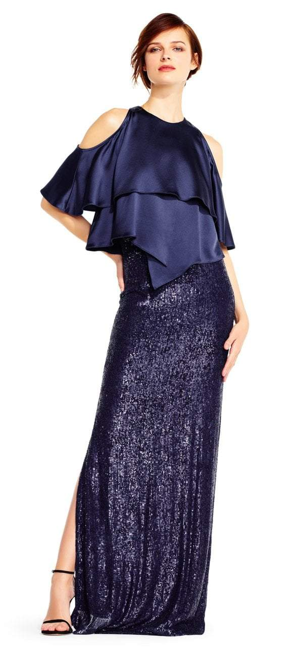 Aidan Mattox - MD1E201424 Jewel Neck Popover Sequined Gown in Blue