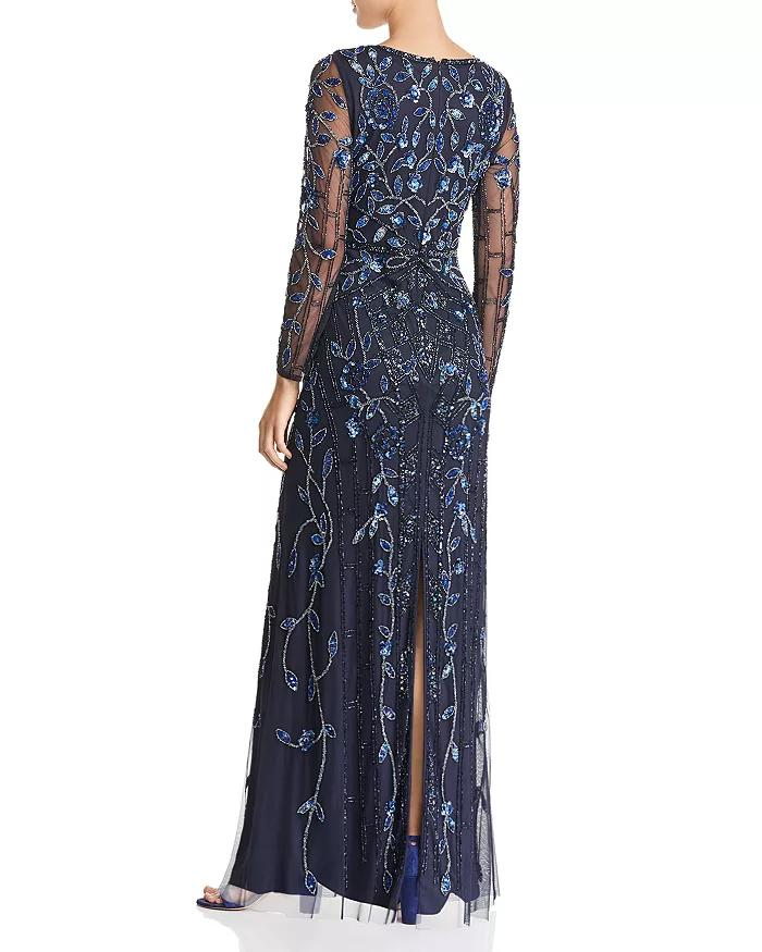 Aidan Mattox - MD1E203314 Embellished Sheer Long Sleeves A-line Dress In Blue and Black