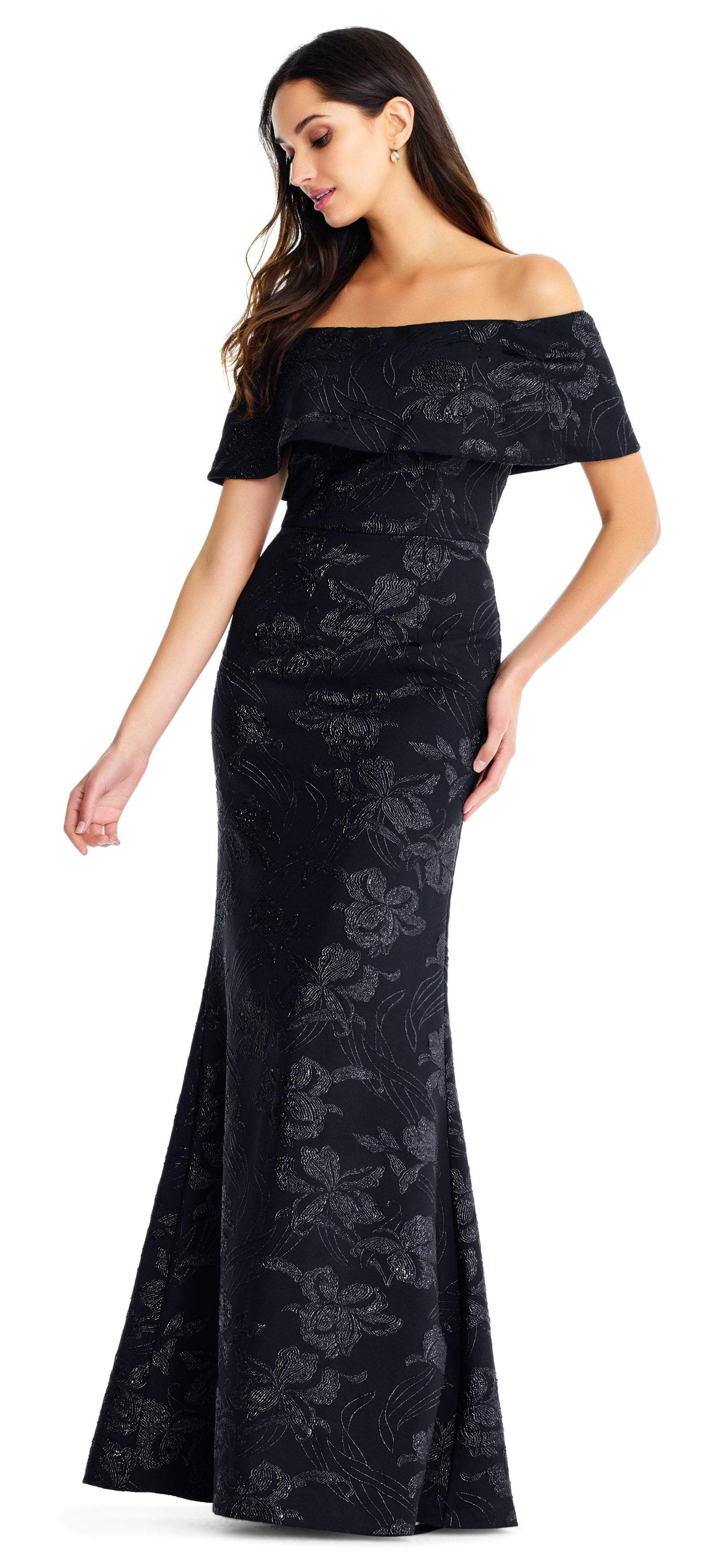 Aidan Mattox - MD1E203576 Off-Shoulder Floral Printed Trumpet Gown In Black