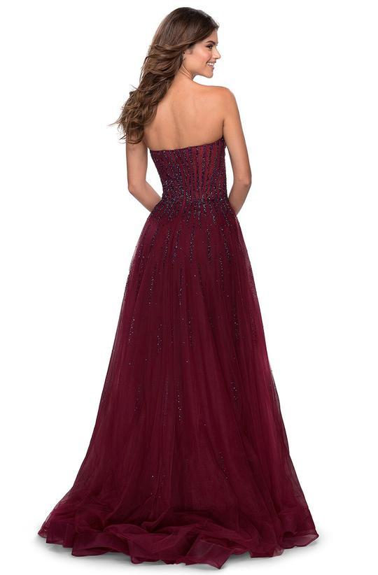 La Femme - Beaded Sweetheart A-line Evening Dress 28603 In Purple
