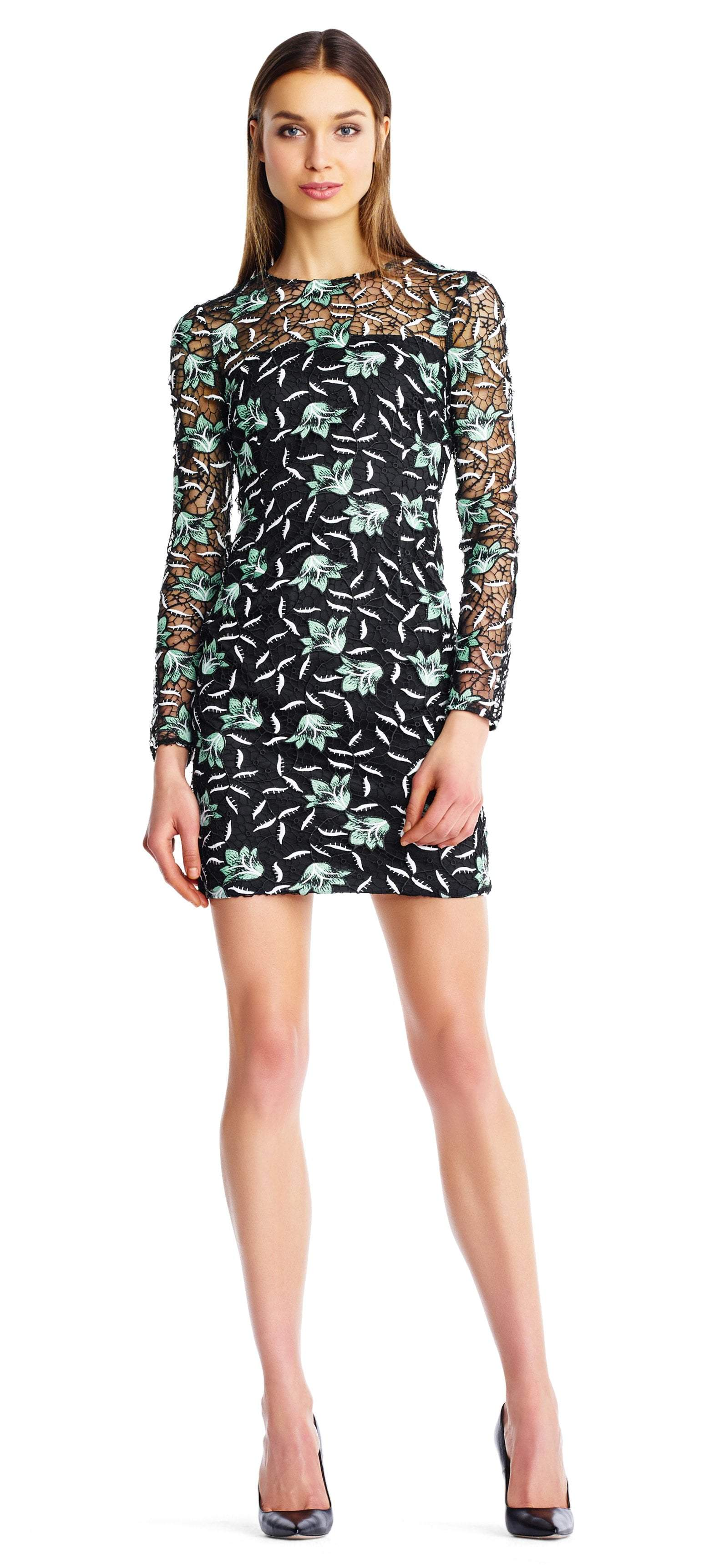 Aidan Mattox - MN1E202901 Embroidered Lace Long Sleeves Sheath Dress In Green and Multi