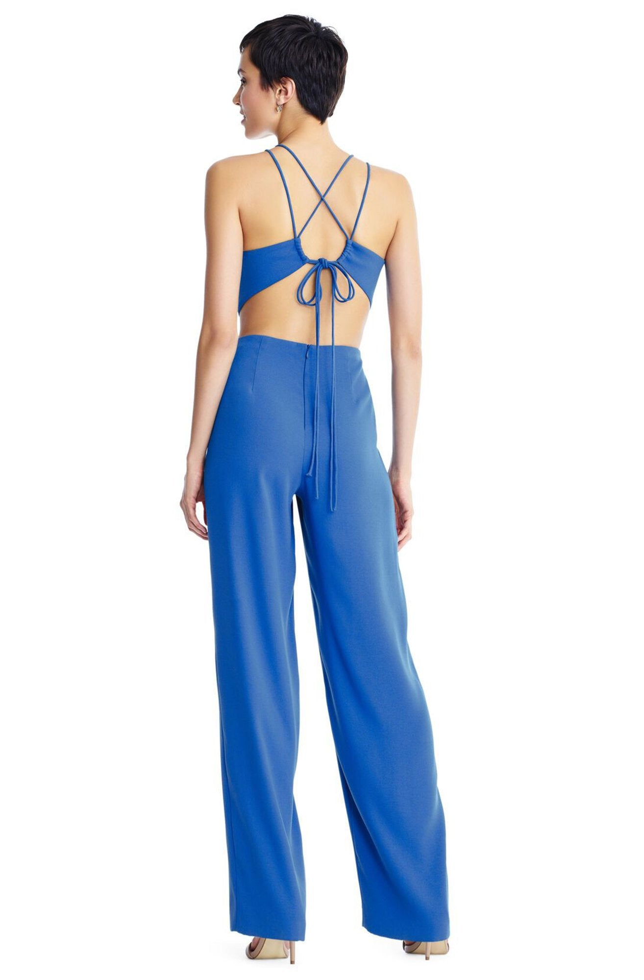 Aidan Mattox - MN1E204053 Sleeveless Halter Jumpsuit With Back Ties In Blue