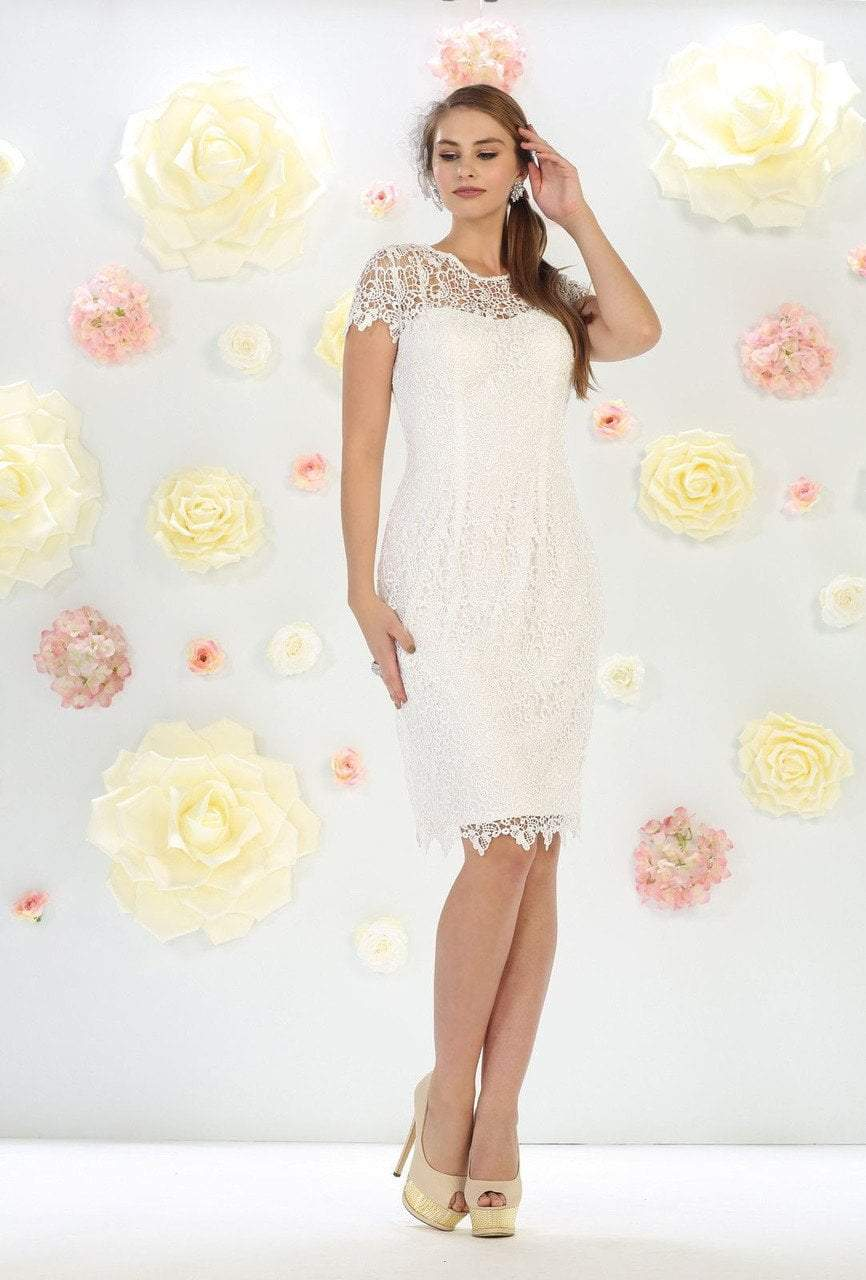 May Queen MQ1253 Stylish Cap Sleeve Lace Formal Dress In IvoryMay Queen MQ1253 Stylish Cap Sleeve Lace Formal Dress In Ivory