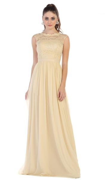 May Queen - Lace Cap Sleeve Bateau A-line Dress MQ1590  In Neutral