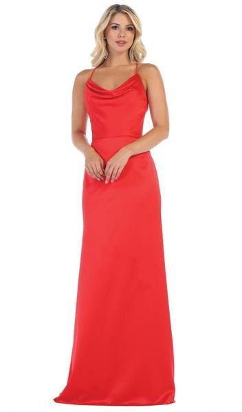 May Queen - Halter Neck Strappy Back Satin A-Line Gown MQ1594 In Red