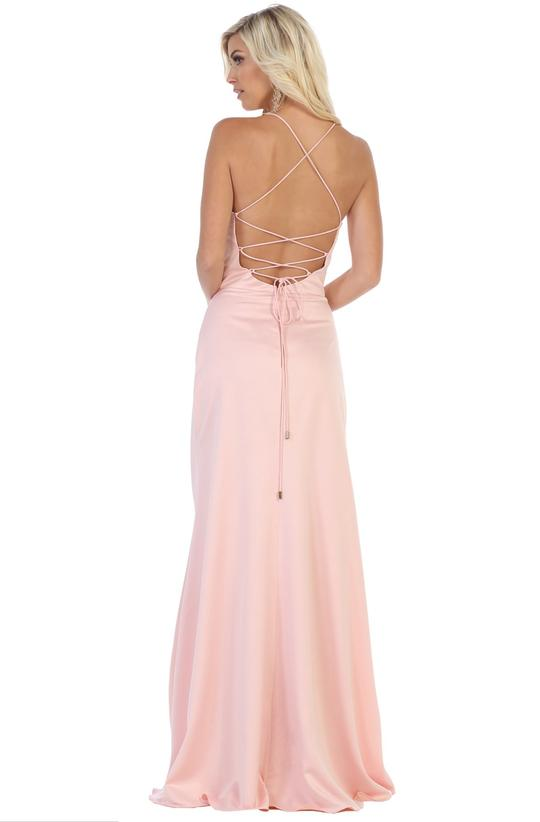 May Queen - MQ1594SC Strappy Halter Slim A-Line Evening Dress