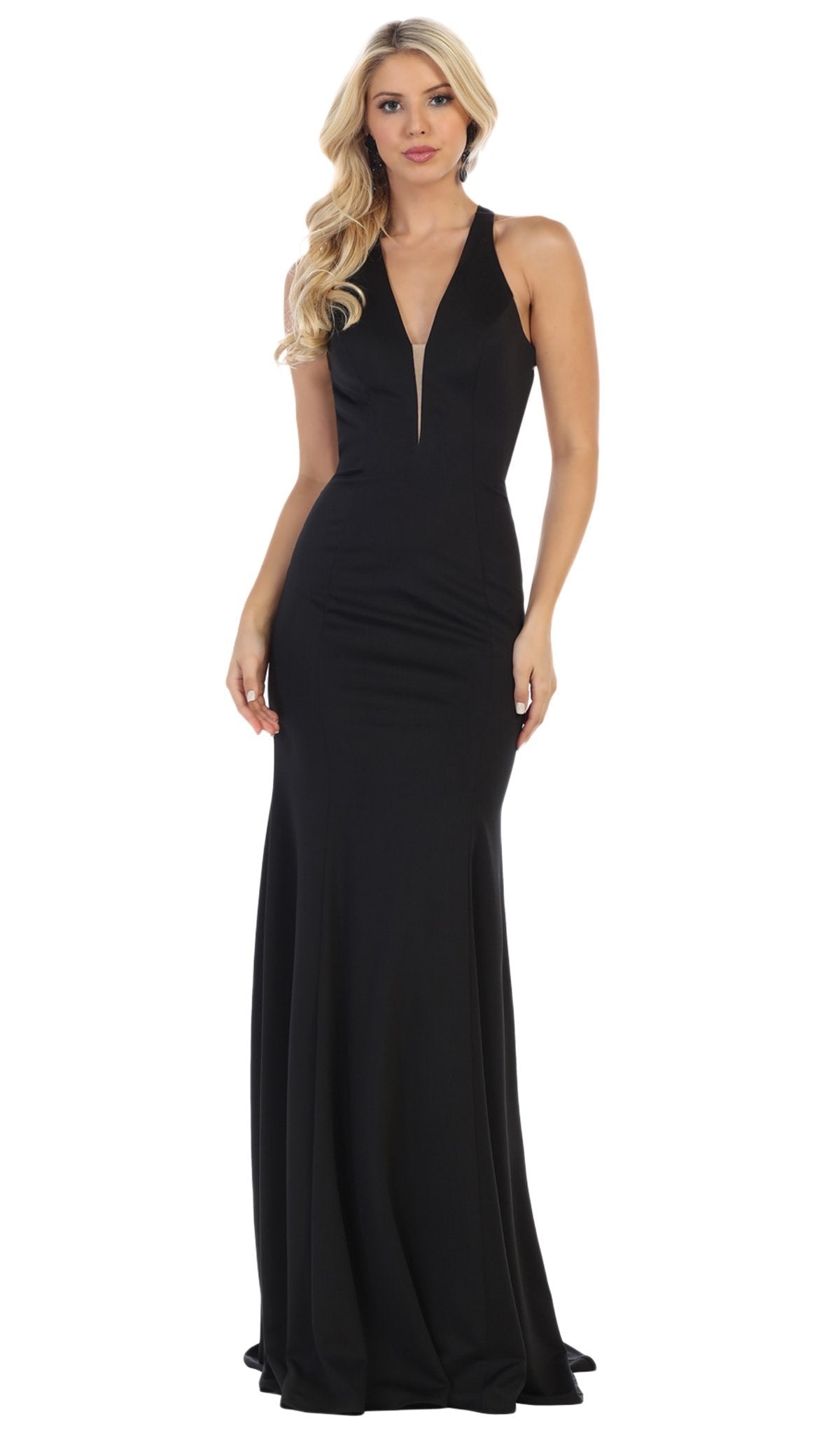 May Queen - Plunging Crisscross Strapped Back Mermaid Gown MQ1636 In Black