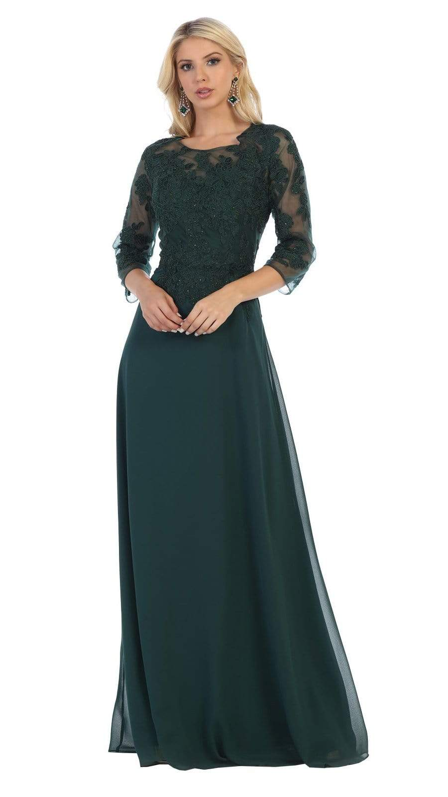 May Queen - MQ1637 Illusion Quarter Sleeve Appliqued Sheath Gown Special Occasion Dress M / Hunter Green