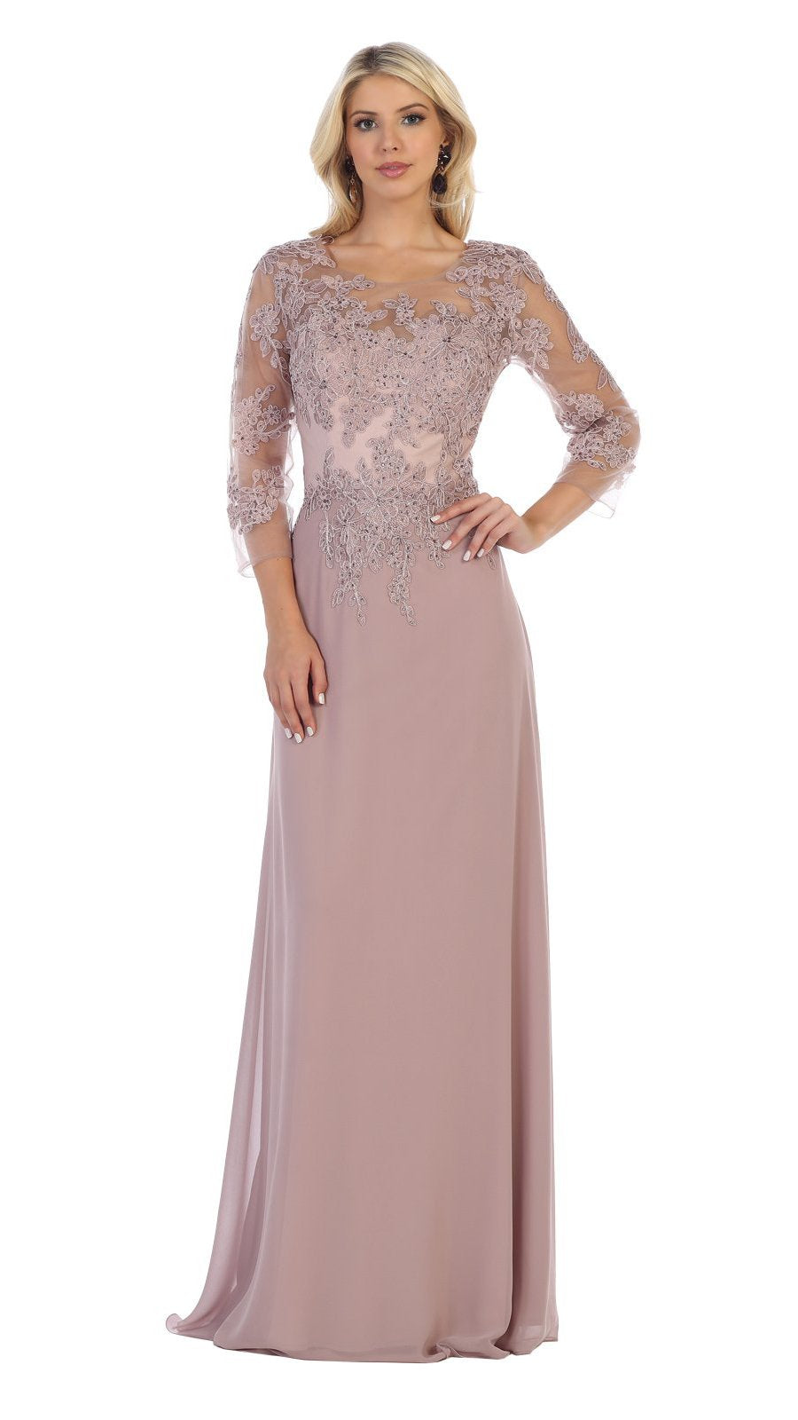 May Queen - MQ1637SC Beaded Appliqued Quarter Sleeve Long Dress