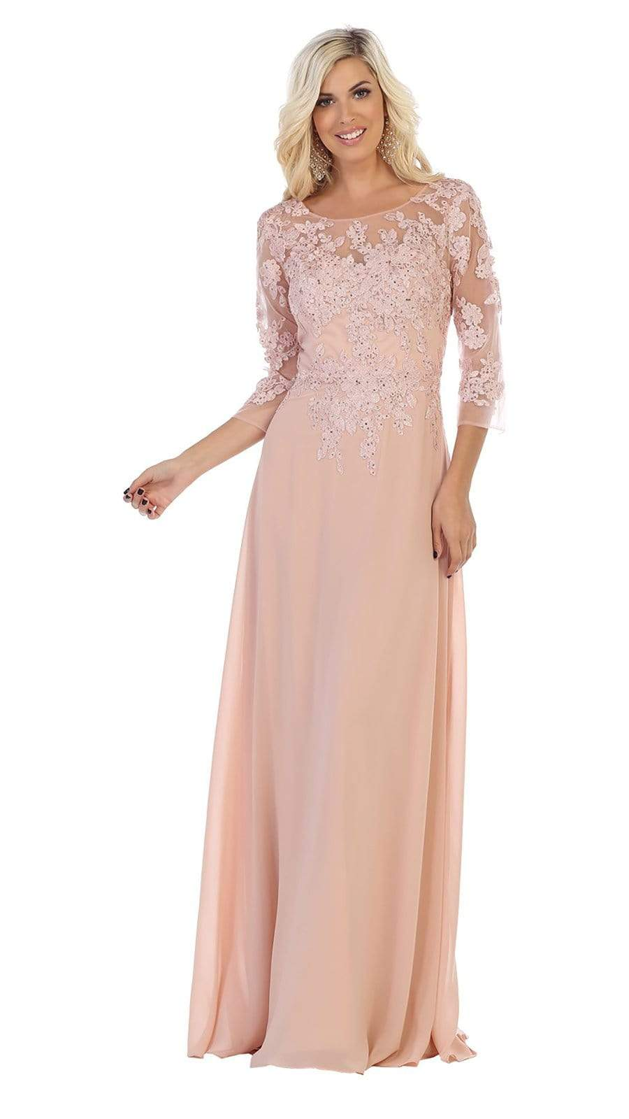 May Queen - MQ1637 Illusion Quarter Sleeve Appliqued Sheath Gown Special Occasion Dress M / Dusty Rose