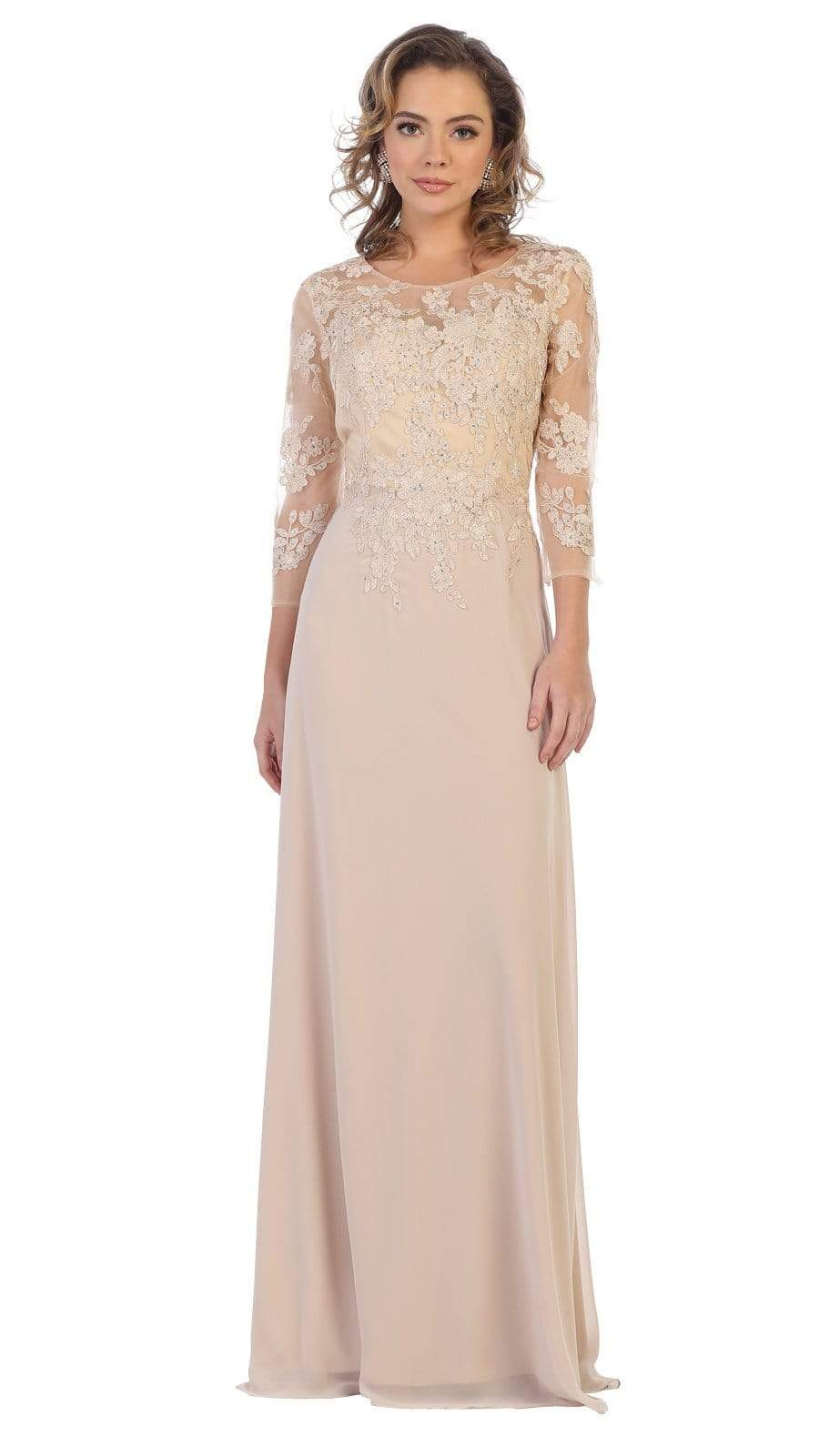 May Queen - MQ1637 Illusion Quarter Sleeve Appliqued Sheath Gown Special Occasion Dress M / Champagne