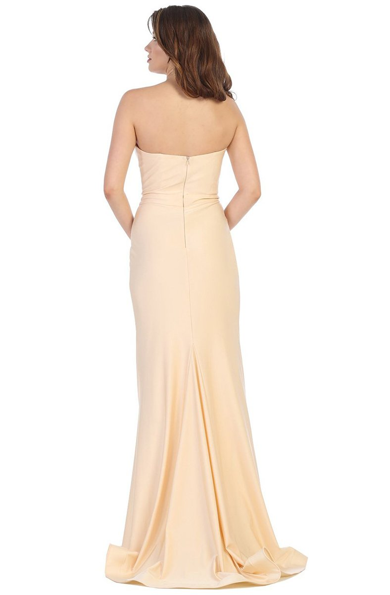 May Queen - MQ1718SC Strapless Sweetheart Wrao High Slit Dress