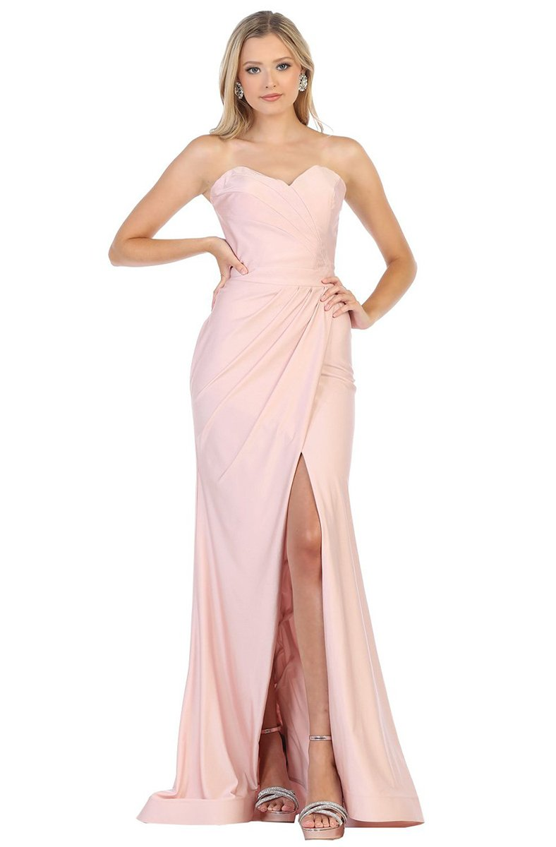 May Queen - Ruched Sweetheart Draping High Slit Dress MQ1718 In Neutral