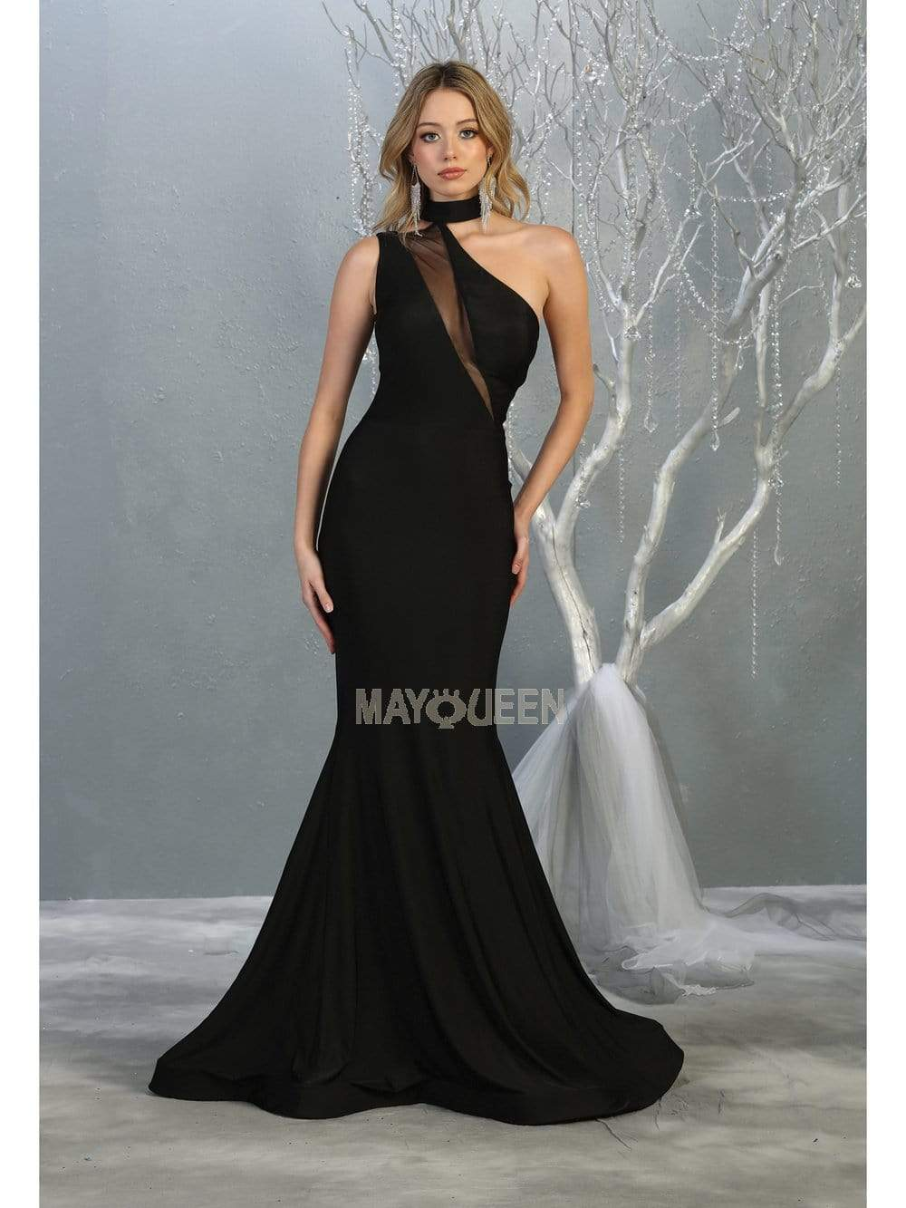 May Queen - MQ1773 Choker Ornate Illusion Paneled Trumpet Dress Evening Dresses 2 / Black