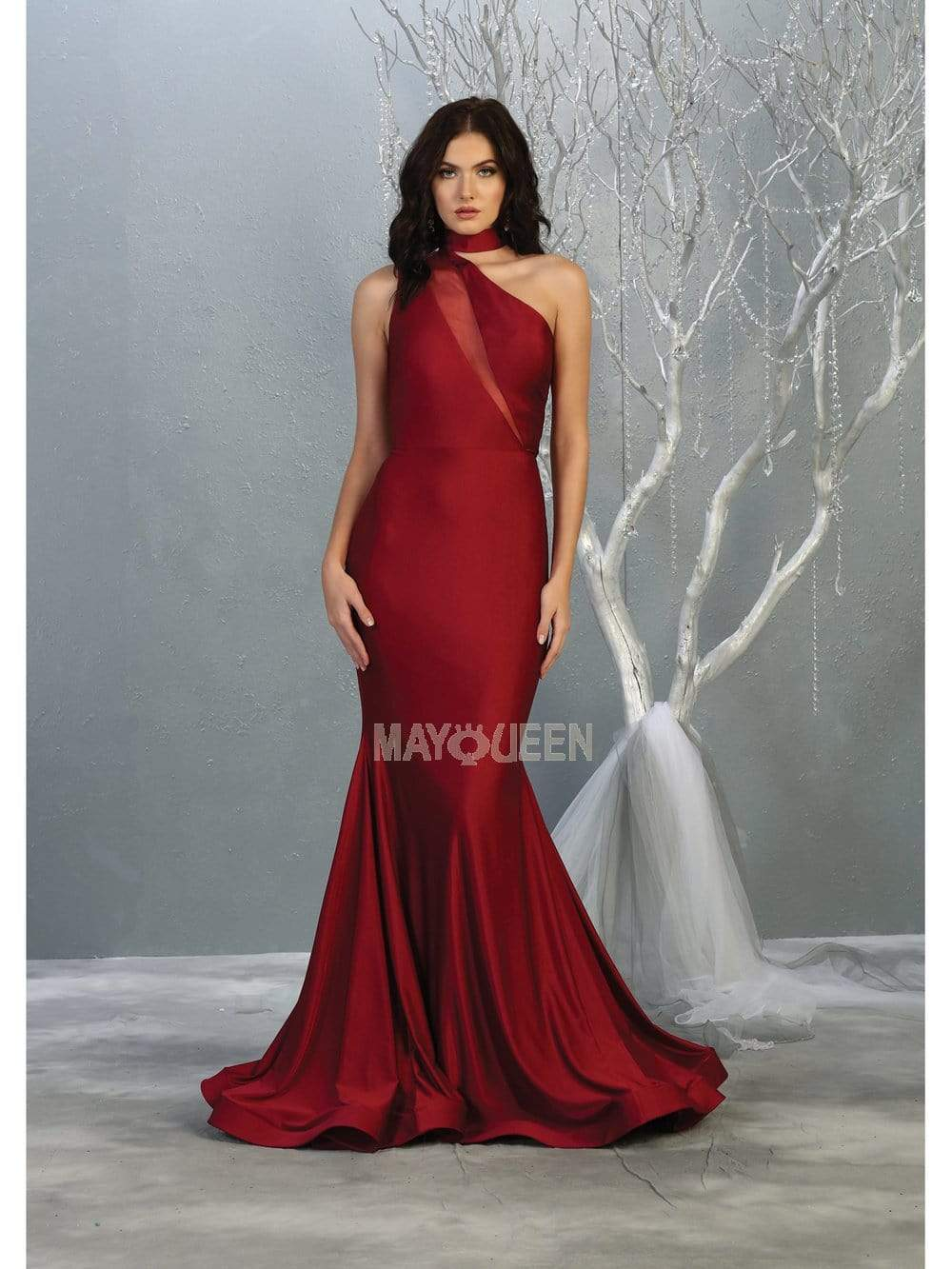 May Queen - MQ1773 Choker Ornate Illusion Paneled Trumpet Dress Evening Dresses 2 / Burgundy