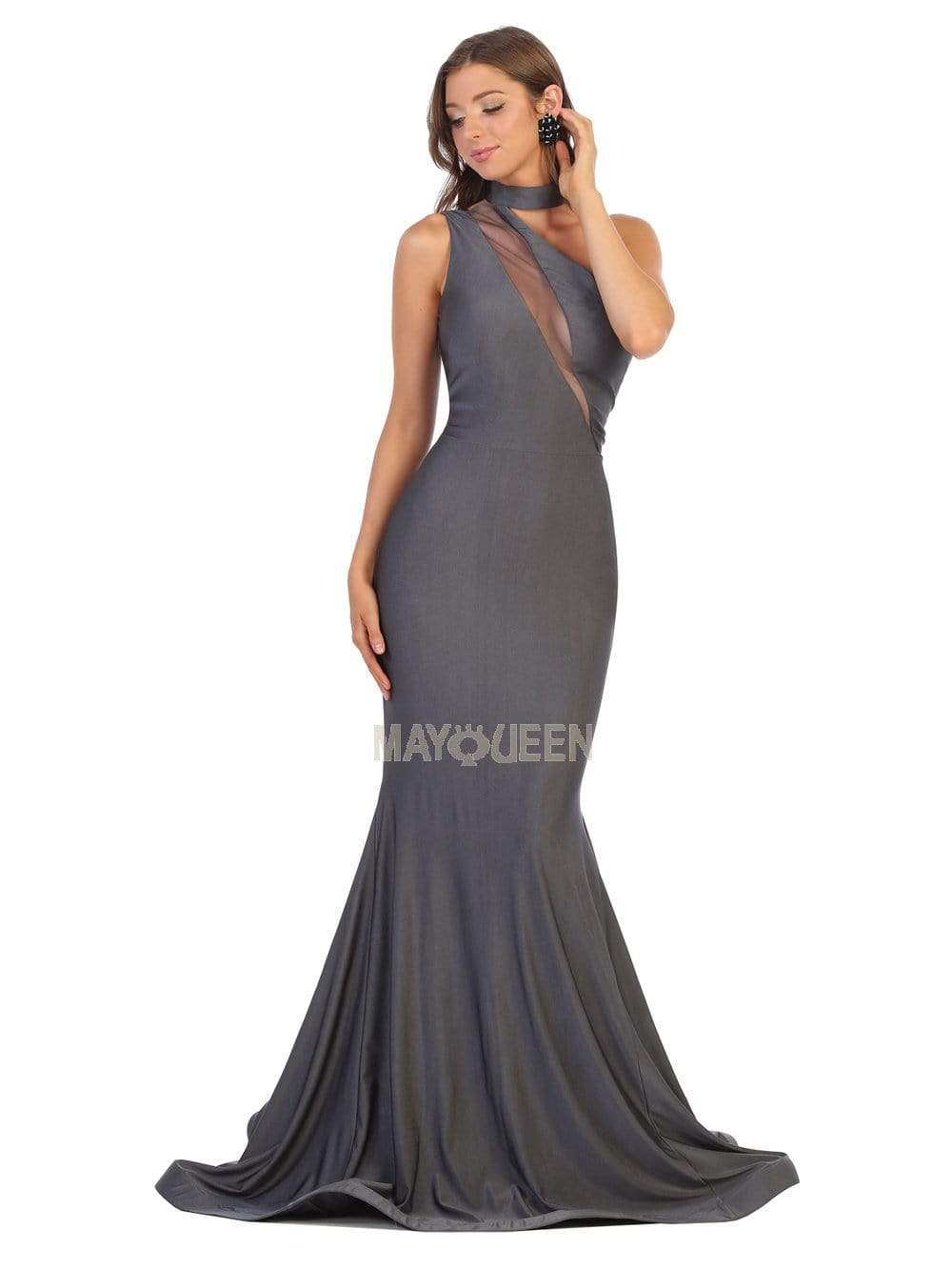 May Queen - MQ1773 Choker Ornate Illusion Paneled Trumpet Dress Evening Dresses 2 / Charcoal Gray