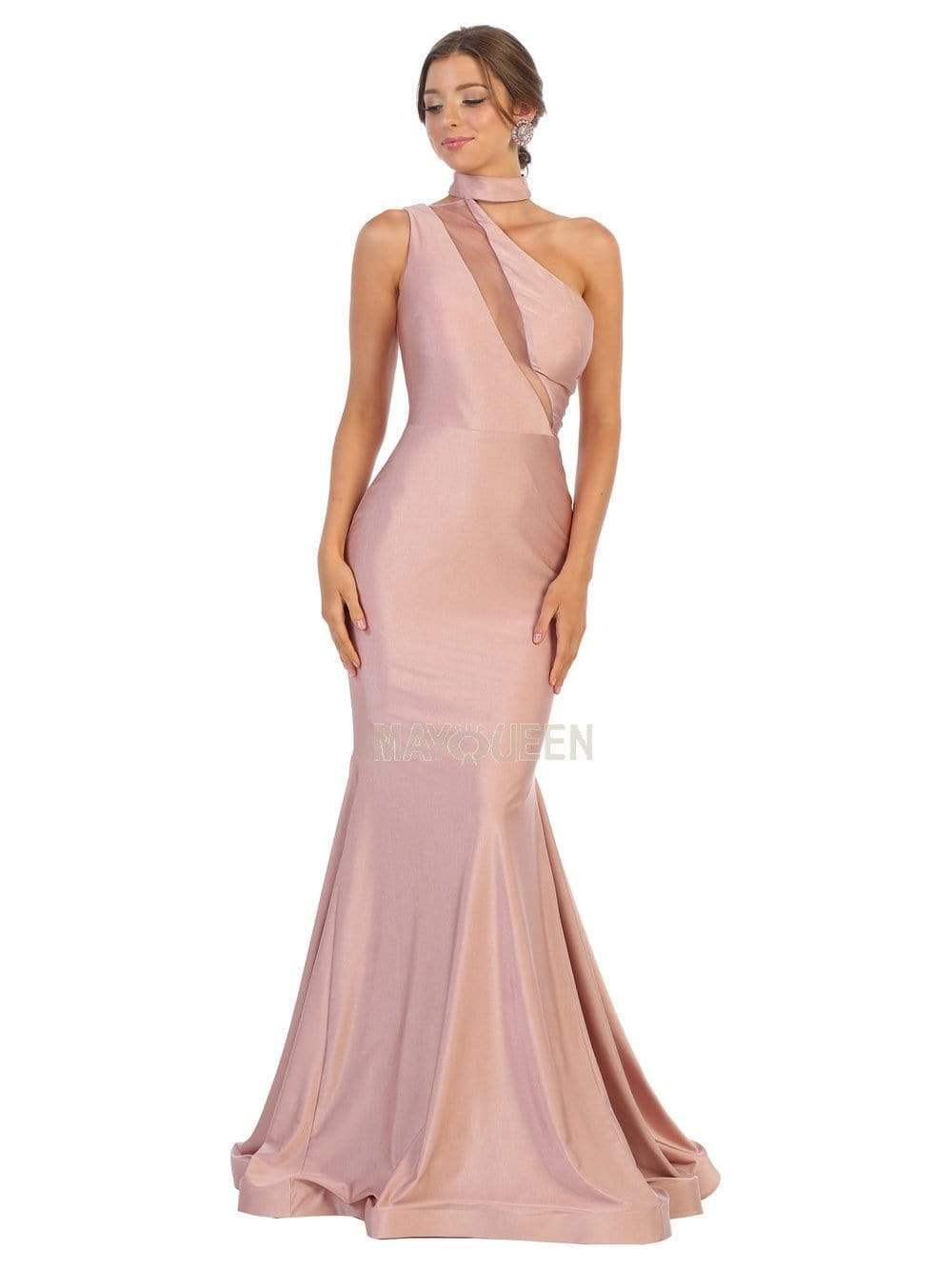 May Queen - MQ1773 Choker Ornate Illusion Paneled Trumpet Dress Evening Dresses 2 / Mauve