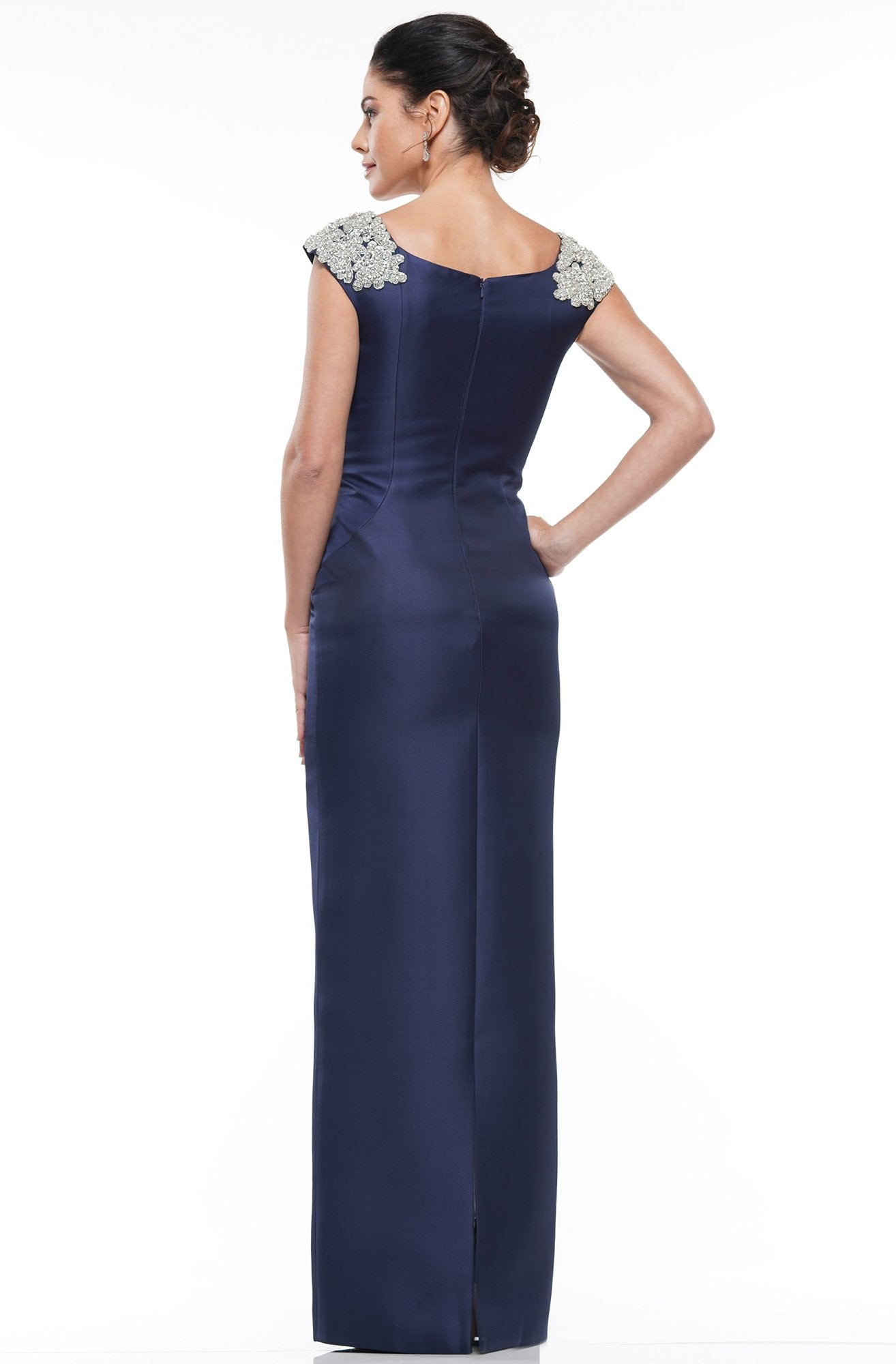 Marsoni By Colors - MV1004 Jewel Embellished Shoulders Satin Column Gown In Blue