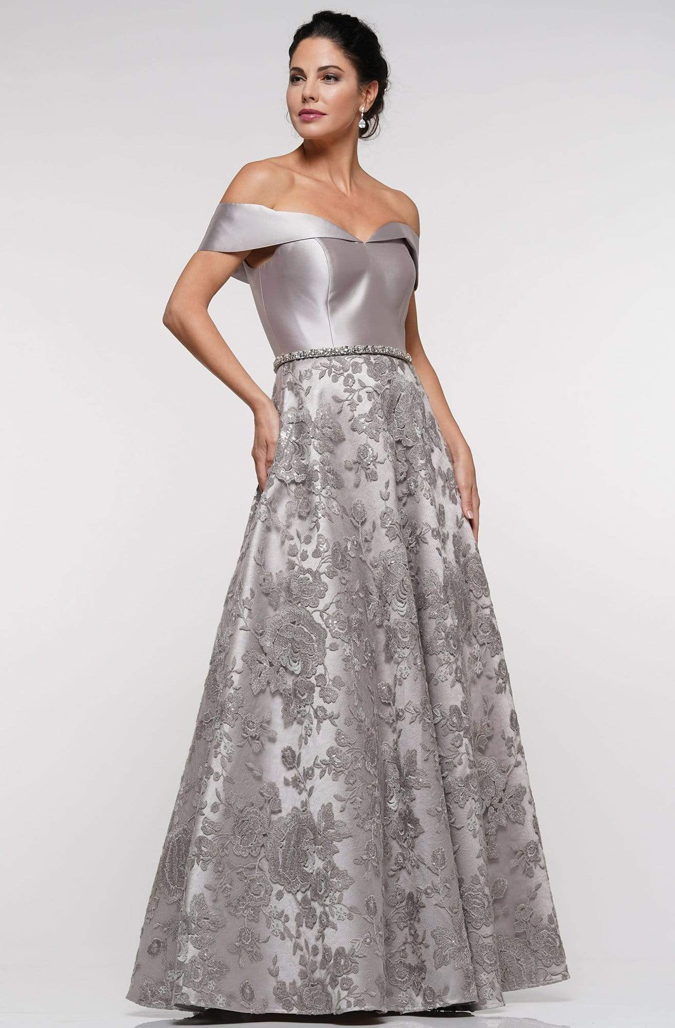 Marsoni By Colors - MV1013 Off-Shoulder Mikado Sequin Beaded Lace A-line Gown In Silver and Gray