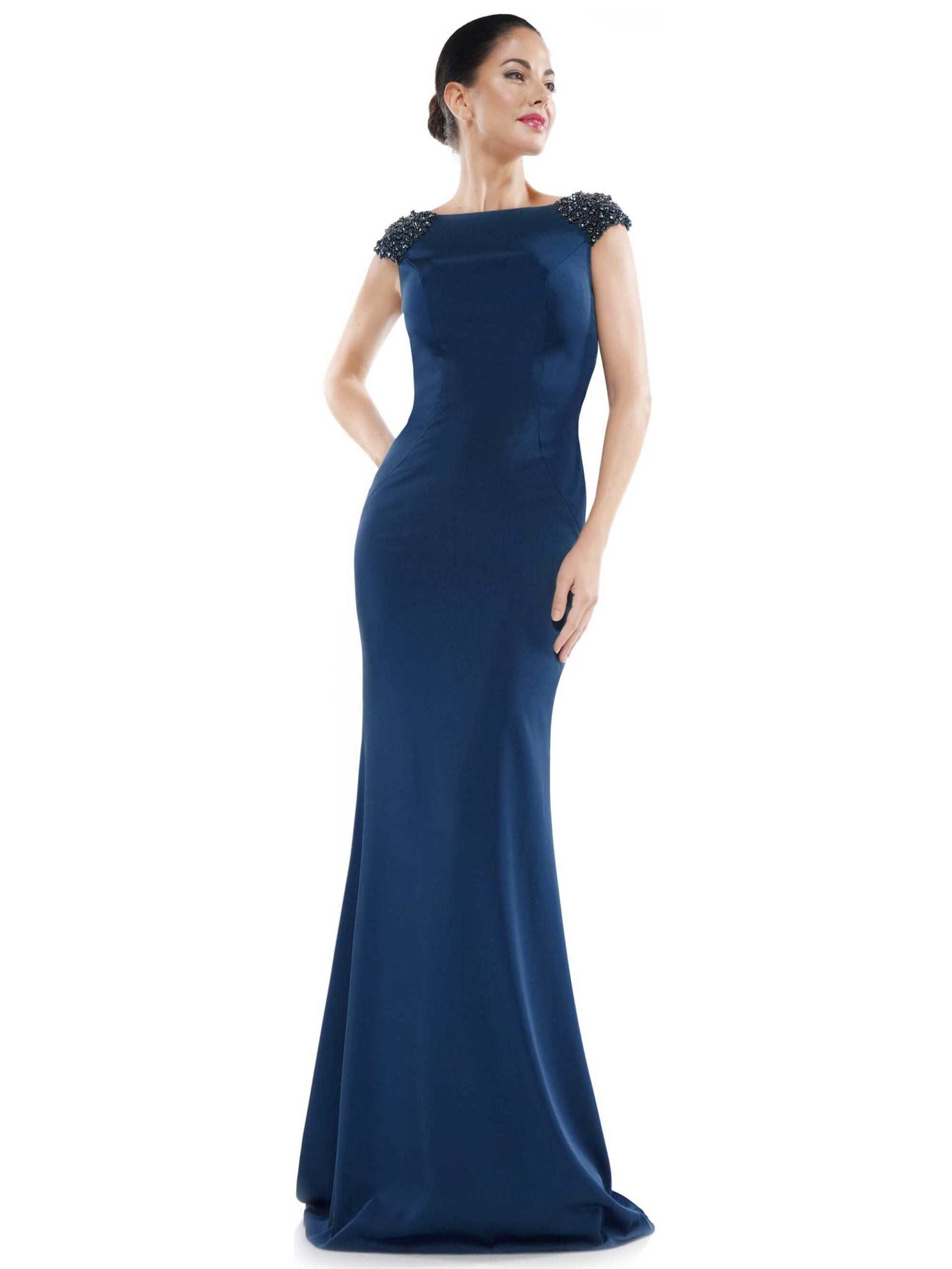 Marsoni by Colors - MV1023 Beaded Cowl Back Trumpet Gown In Blue