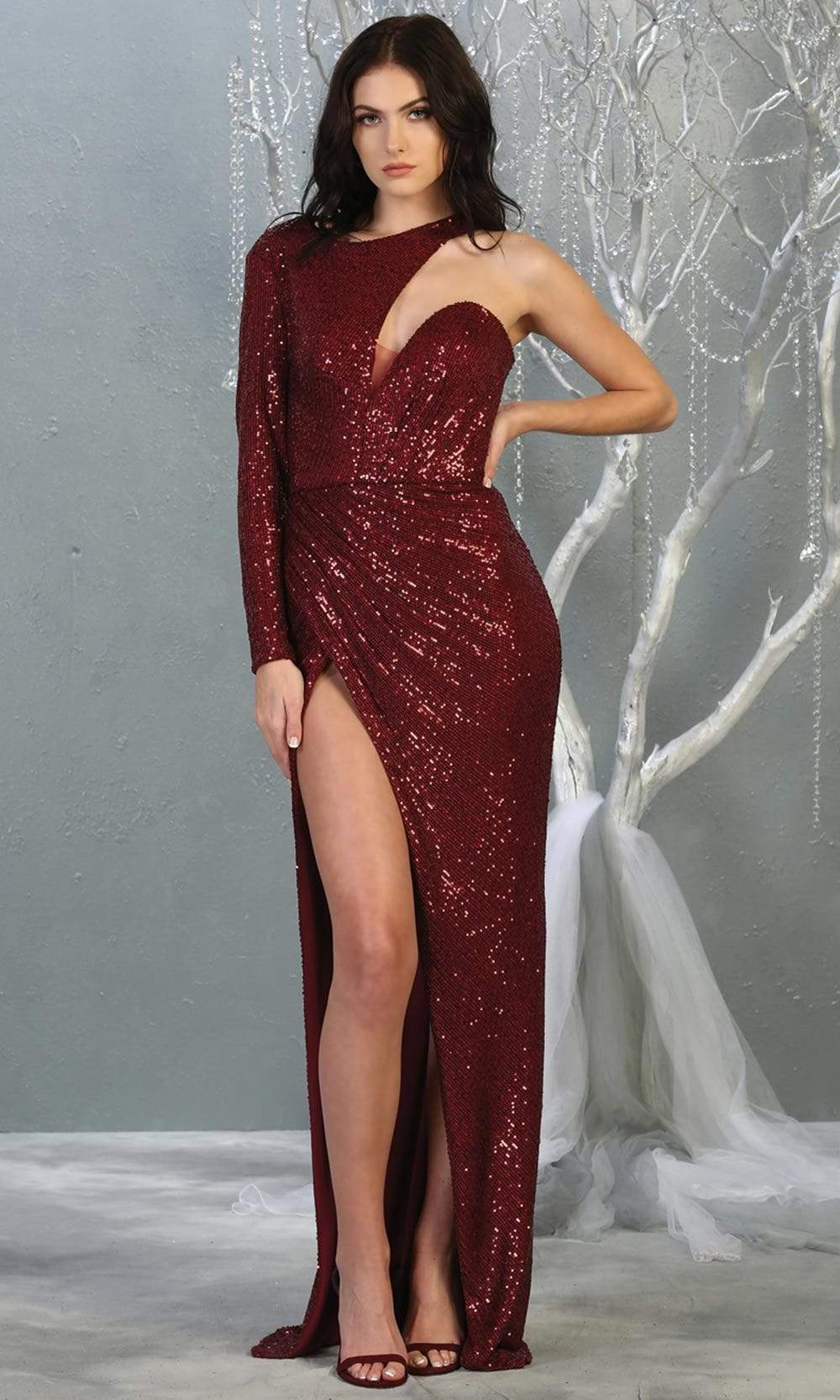 May Queen - RQ7867SC Single Long Sleeve Glittery Slit Gown